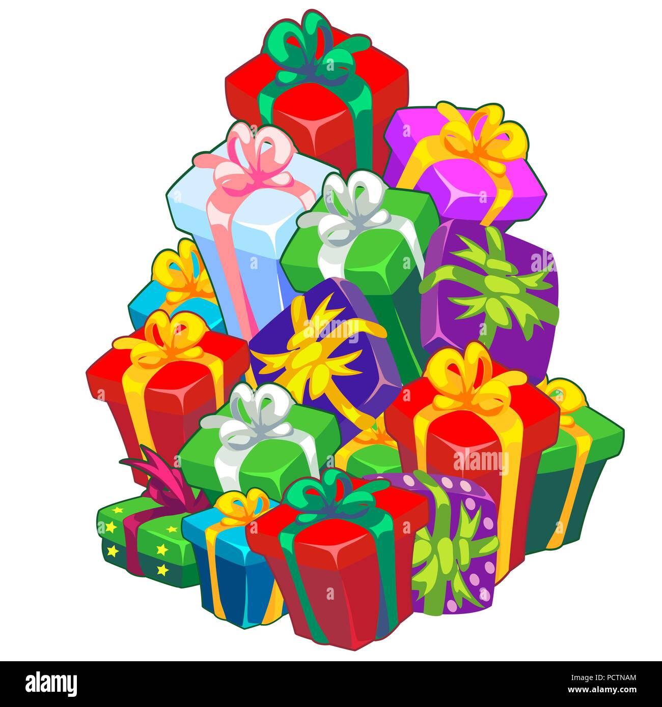 Weihnachten Skizze mit einem Stapel Geschenkboxen mit Band mit einer ...