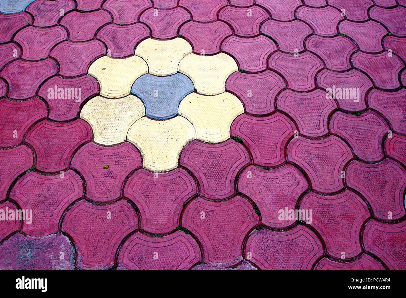 Design Von Verriegelt Rosa Creme Und Hellblau Mosaik Bodenfliesen