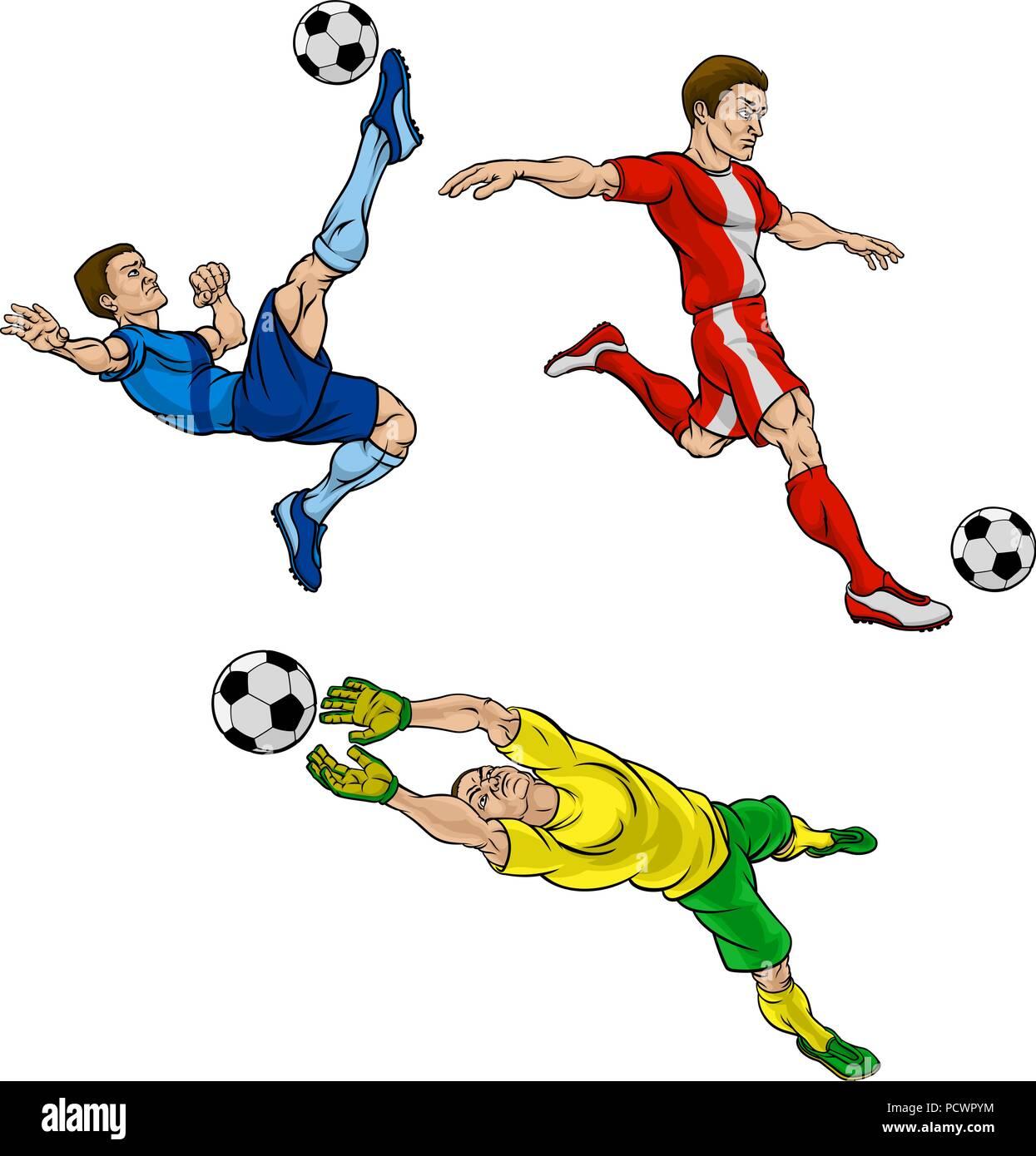 Comic Fussball Fussballspieler Vektor Abbildung Bild