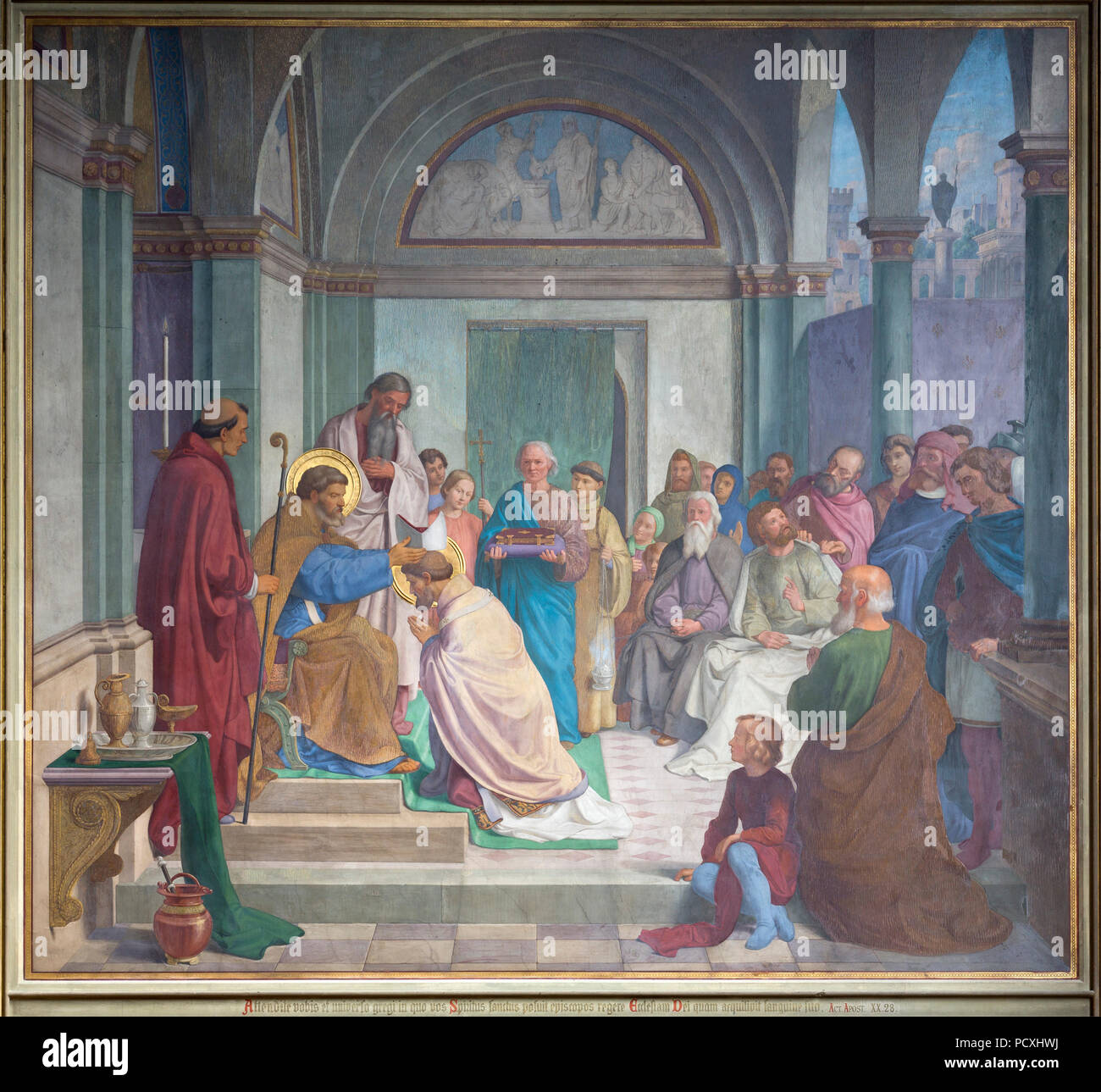 Erbaut von Ernst Zwirner, Fresko an der Ostwand des südlichen Querhauses Stockbild