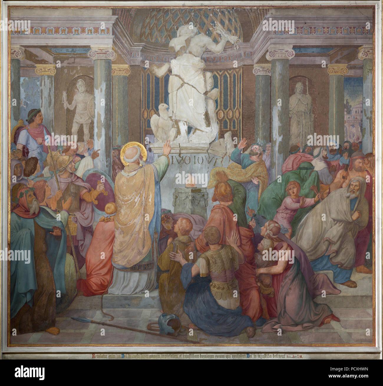 Erbaut von Ernst Zwirner, Fresko an der Westwand des nördlichen Querhauses Stockbild