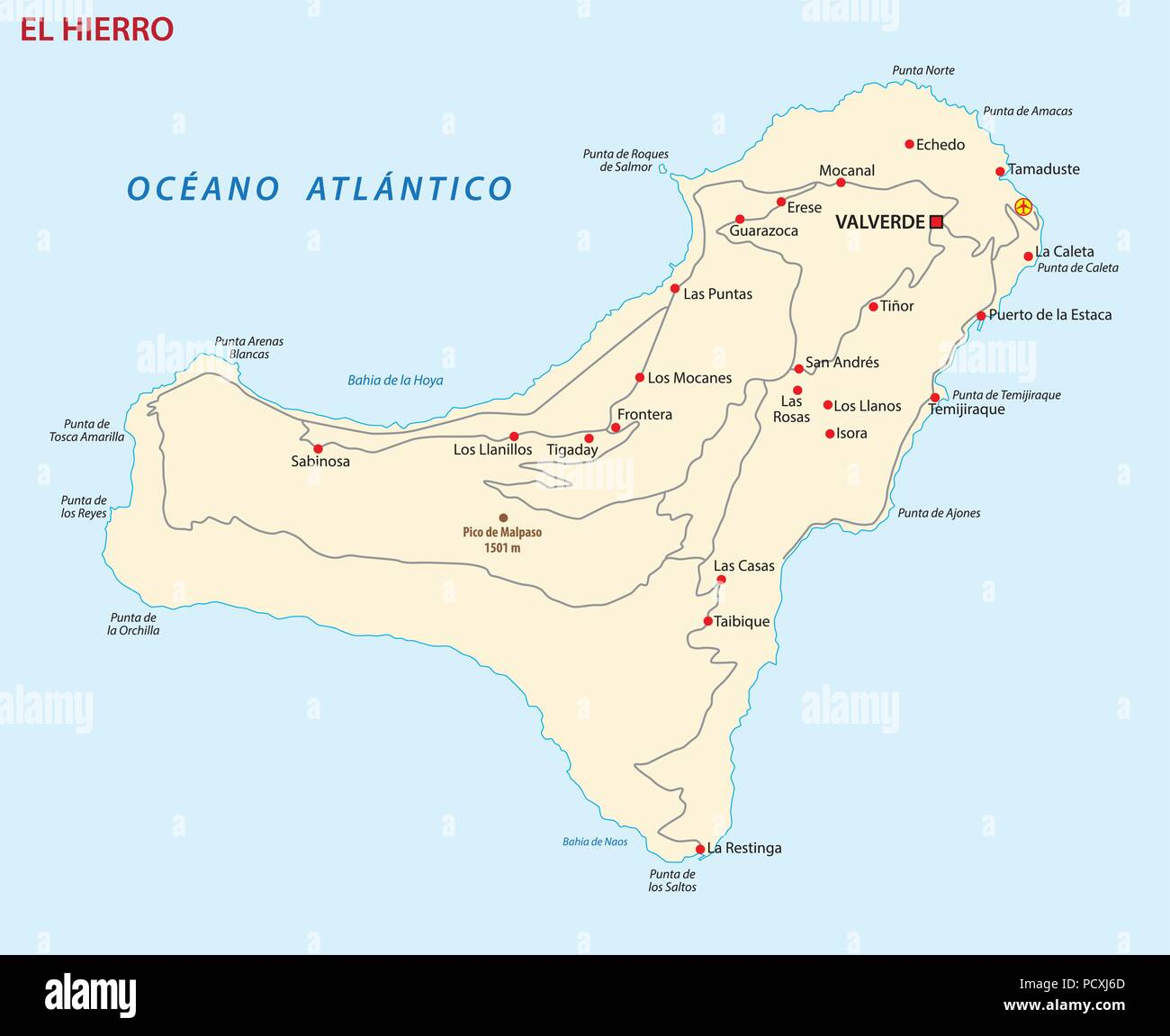 Kanaren Inseln Karte.Vektor Road Map Der Kanarischen Insel Gran El Hierro Karte