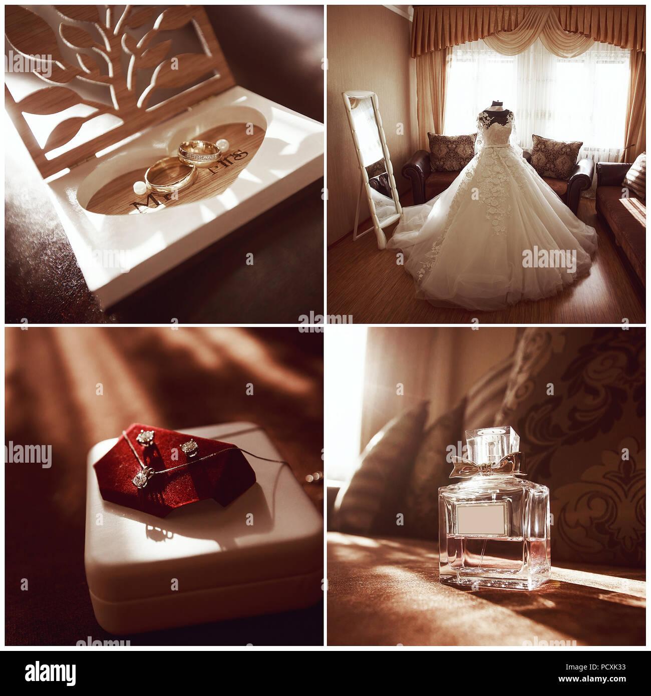 Hochzeit Collage Die Vier Bilder Ringe Kleidung Schmuck Parfum