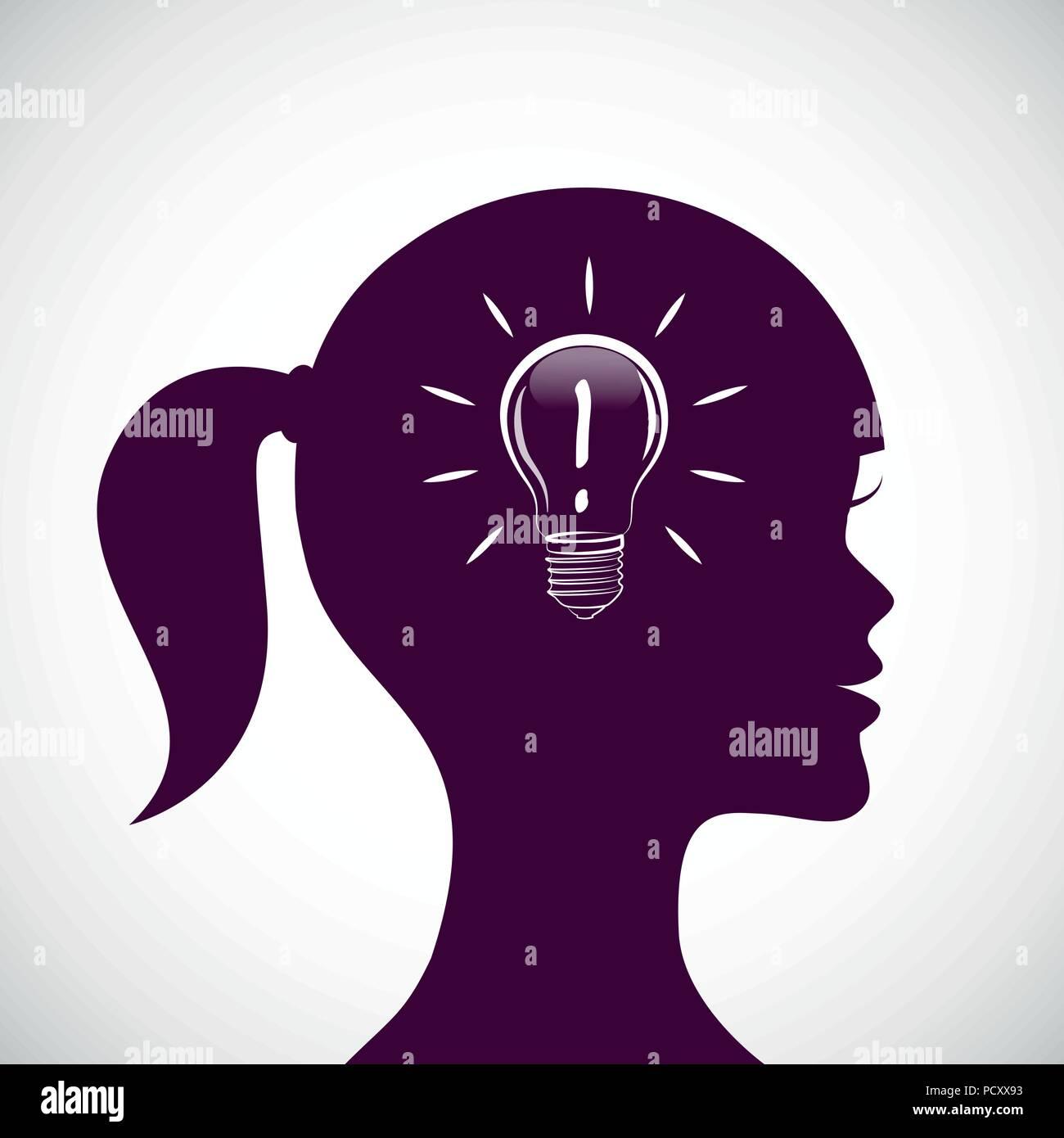 Junge Frau haben Sie eine gute Idee lampe Vector Illustration Stockbild