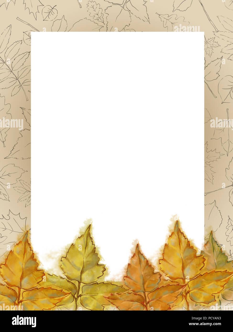 Herbstliche Vorlage mit Zeichnung gemusterten Rahmen und gelbe Blätter. Gerahmte Text kopieren Raum dekoriert mit Aquarell und Zeile verlässt. Stockfoto