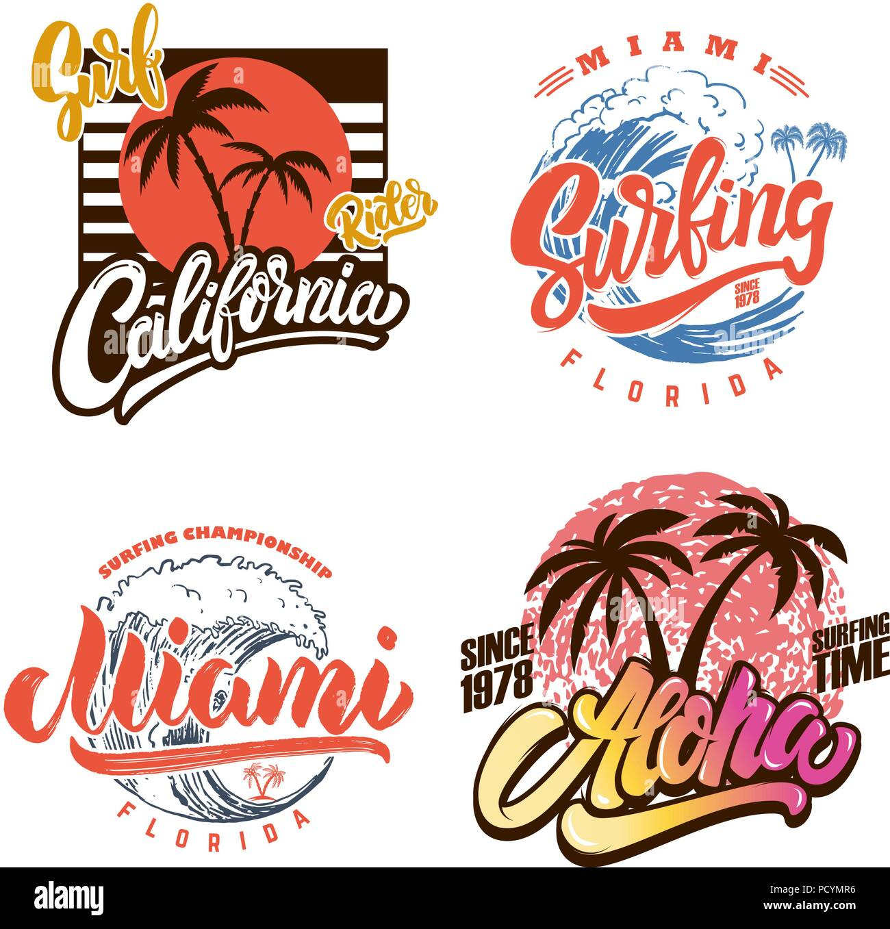 Hawaii surfen Club. Miami. Plakat Vorlagen mit Schriftzug und Palmen ...