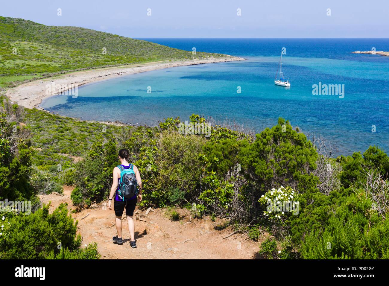 Sentier des Douaniers, Wanderweg, Cap Corse, Corsica, Frankreich Stockbild