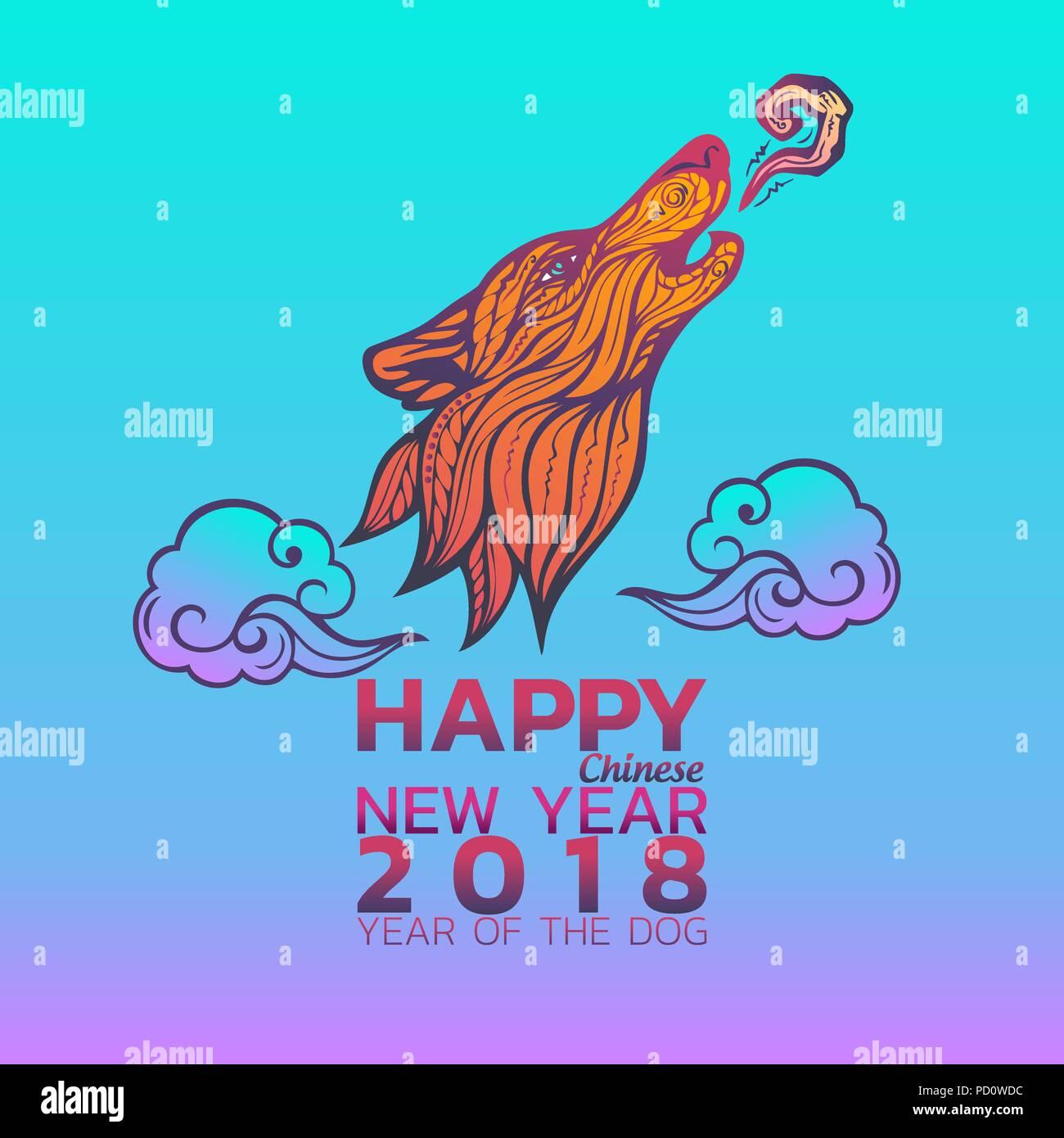Chinesisches Neues Jahr 2018. Sternzeichen Hund. Happy New Year ...