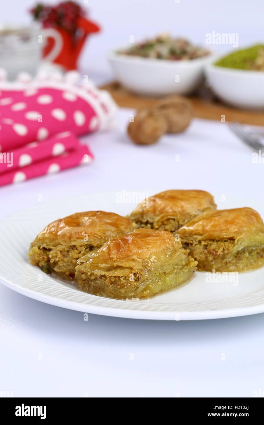 Turkisches Baklava Mit Pistazien Kostliche Dessert Stockfoto Bild