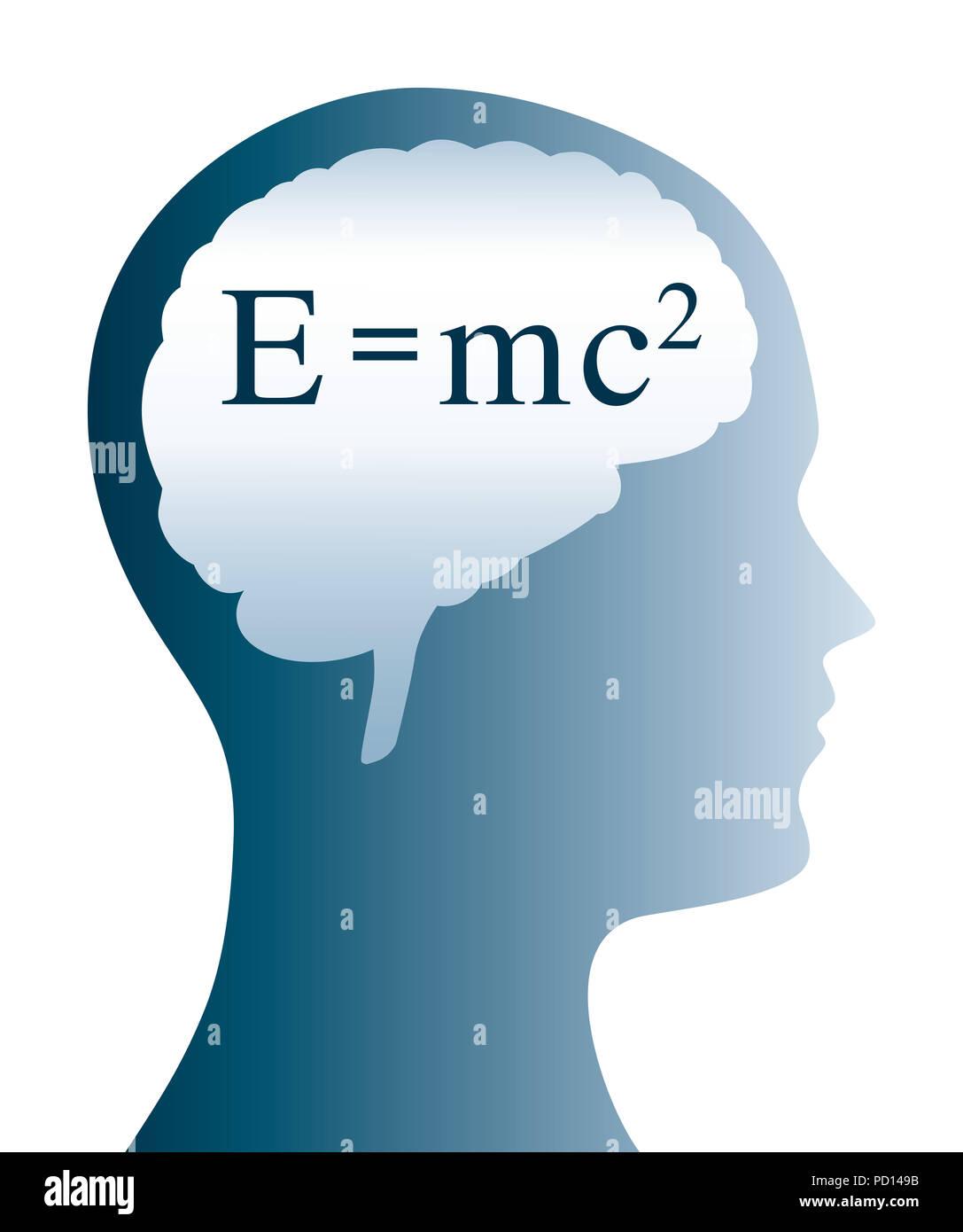 Einstein Formel im Gehirn, die Form und Silhouette des Kopfes. E=mc2 in der Physik ist die Formel für die Masse Energie Gleichwertigkeit. Stockfoto