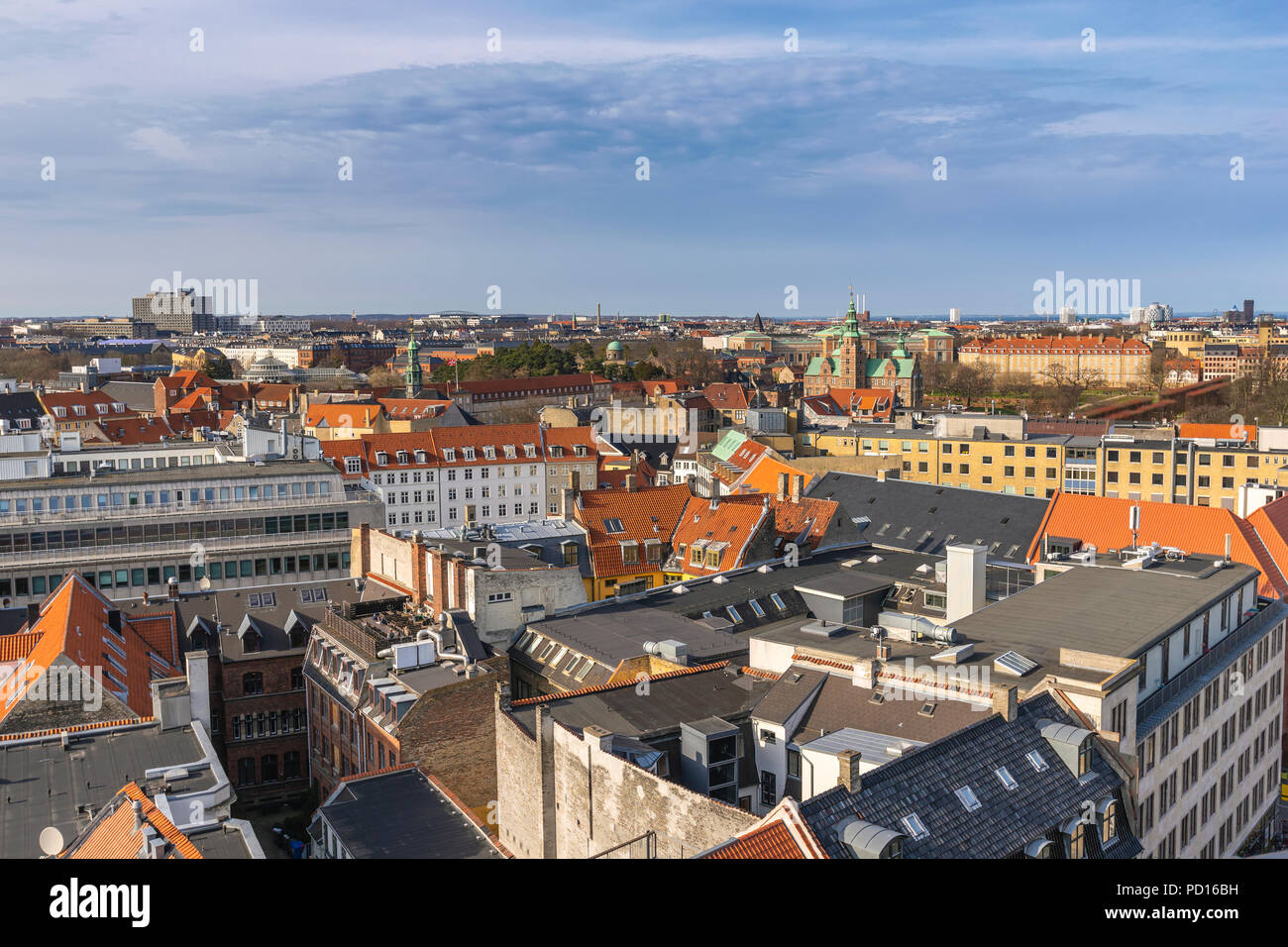Kopenhagen Luftbild Skyline von Round Tower, Kopenhagen, Dänemark Stockbild