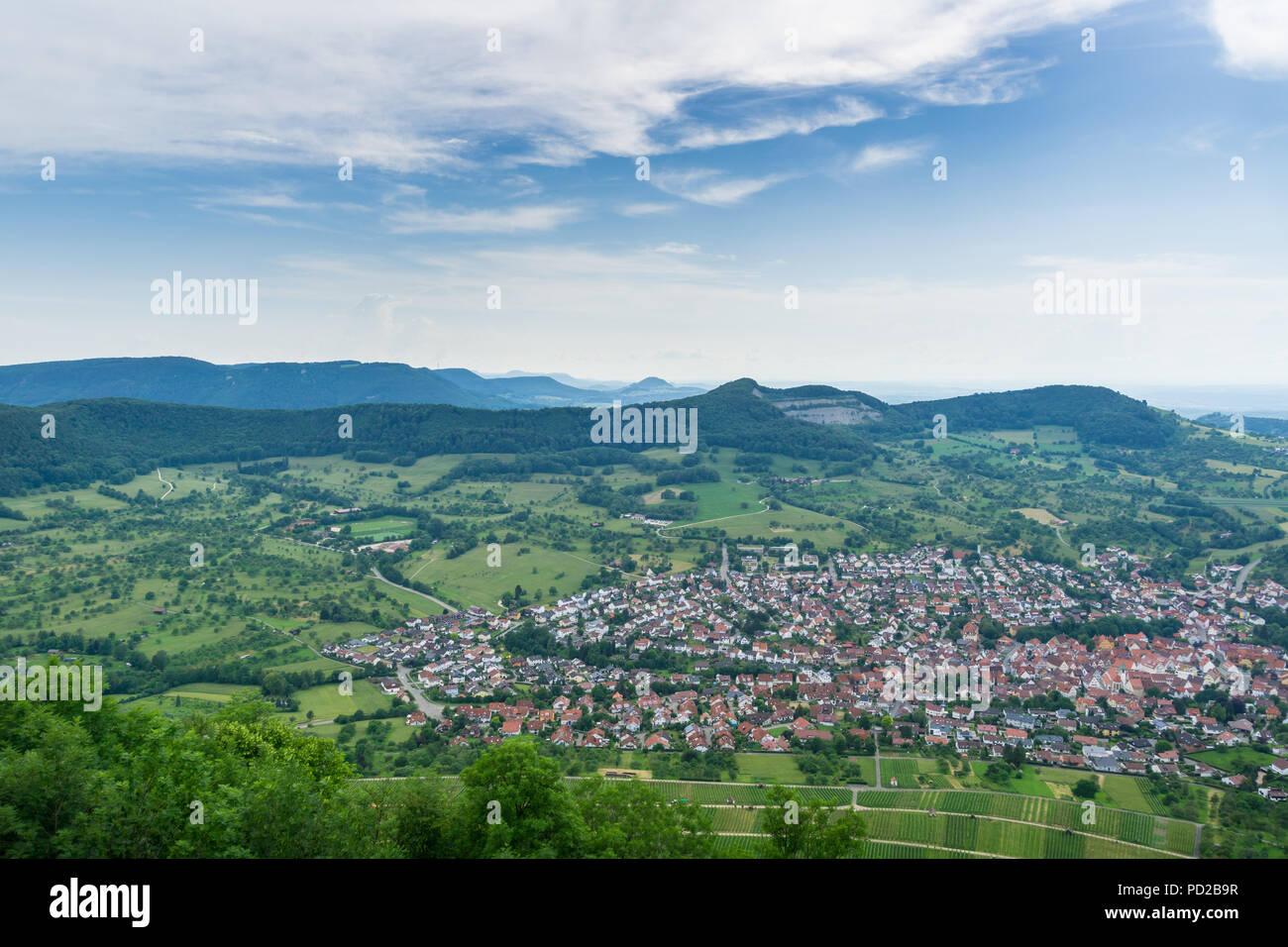 Deutschland, weiten Blick über endlose Natur Landschaft der Schwäbischen Alb von Hohenneuffen Stockbild