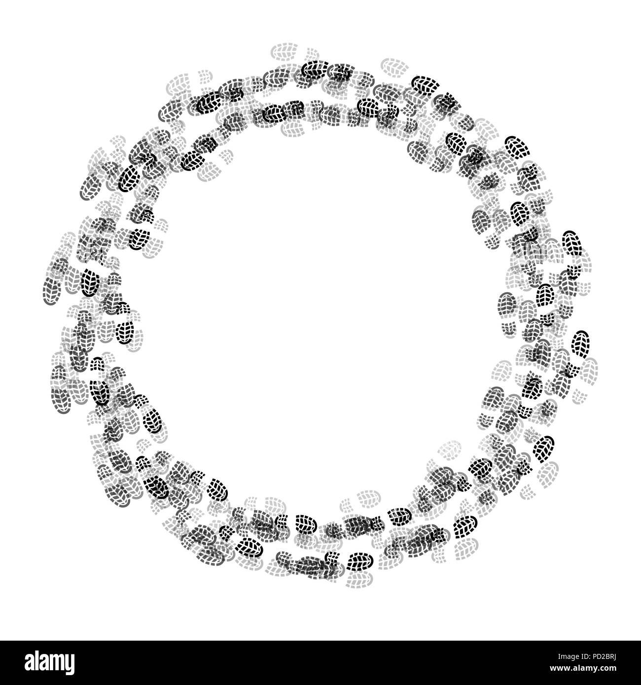 Graue und schwarze Schuhe Track im Kreis auf weißem