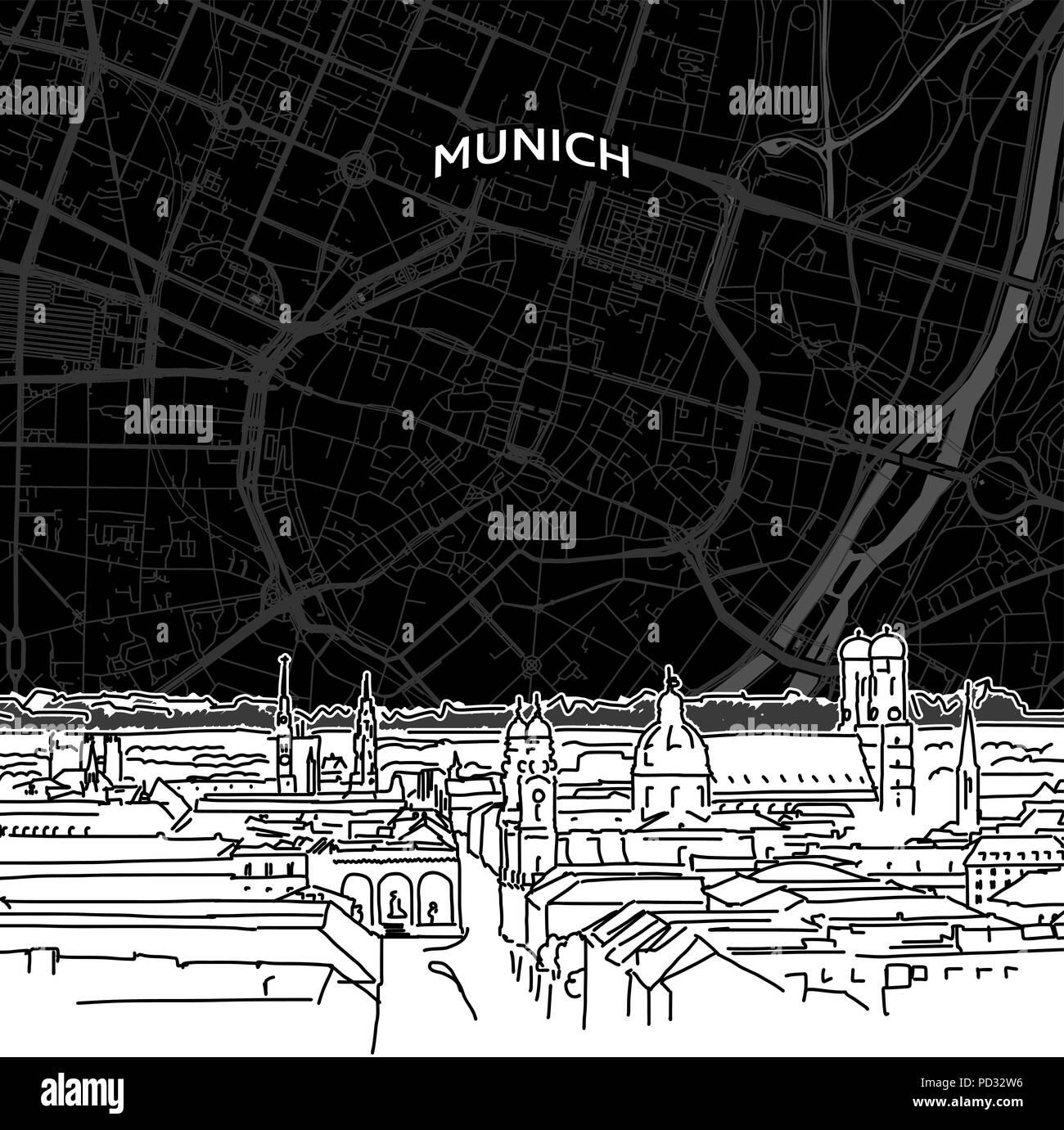 86c637ffabe9d9 Hand gezeichnete Skizze von München Essen. Vektor Zeichnung der Skyline mit  Karte