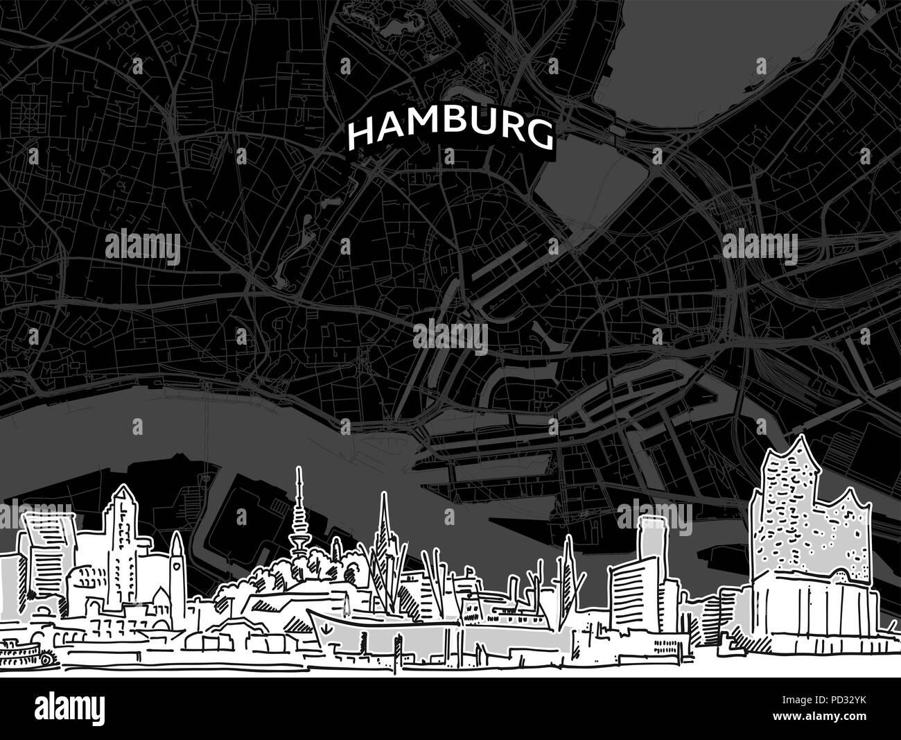 71aab4a7c4d1e8 Hand gezeichnete Skizze von Hamburg essen. Vektor Zeichnung der Skyline mit  Karte