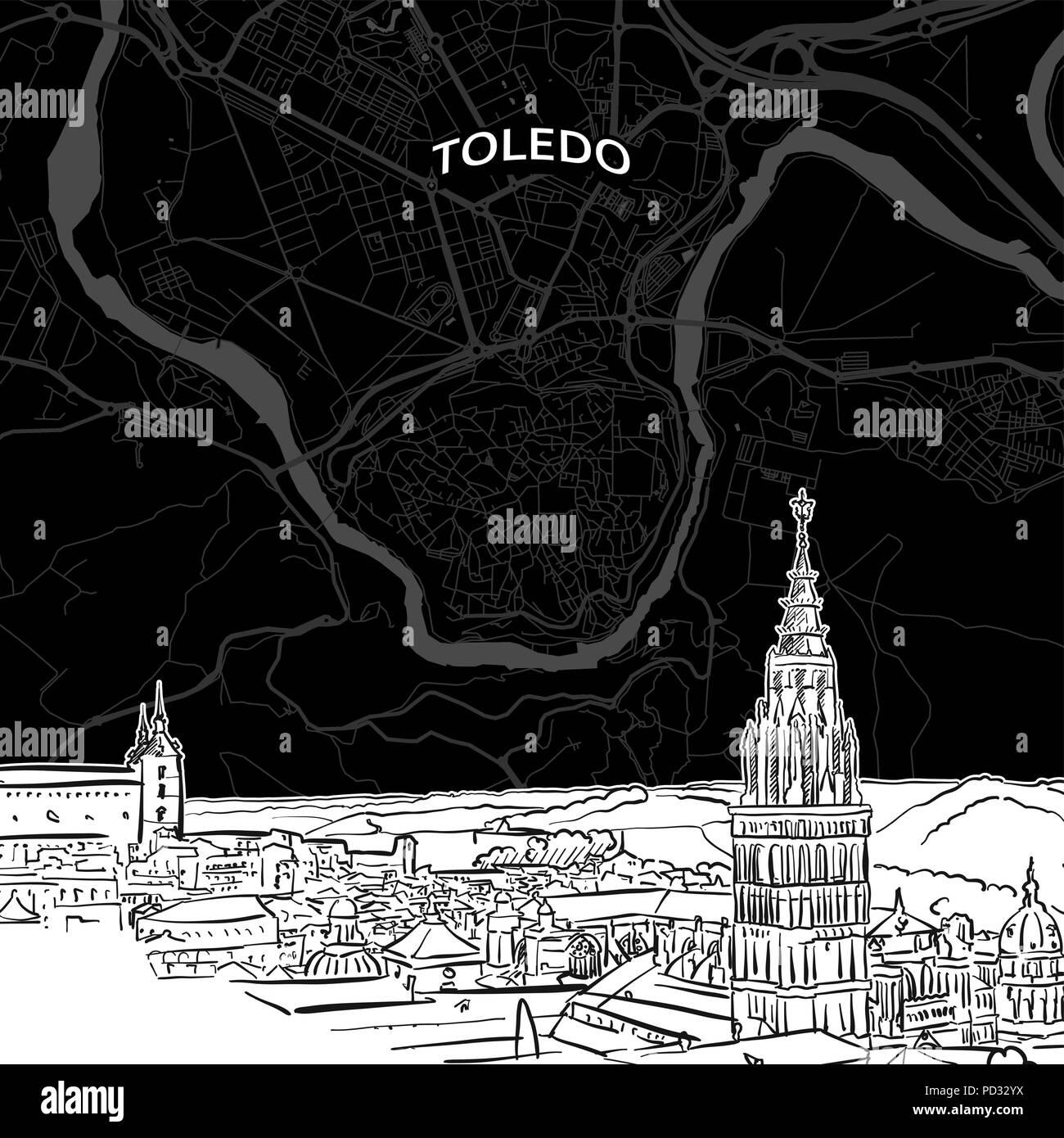 Spanien Karte Schwarz Weiß.Hand Gezeichnete Skizze Von Toledo Essen Vektor Zeichnung Der