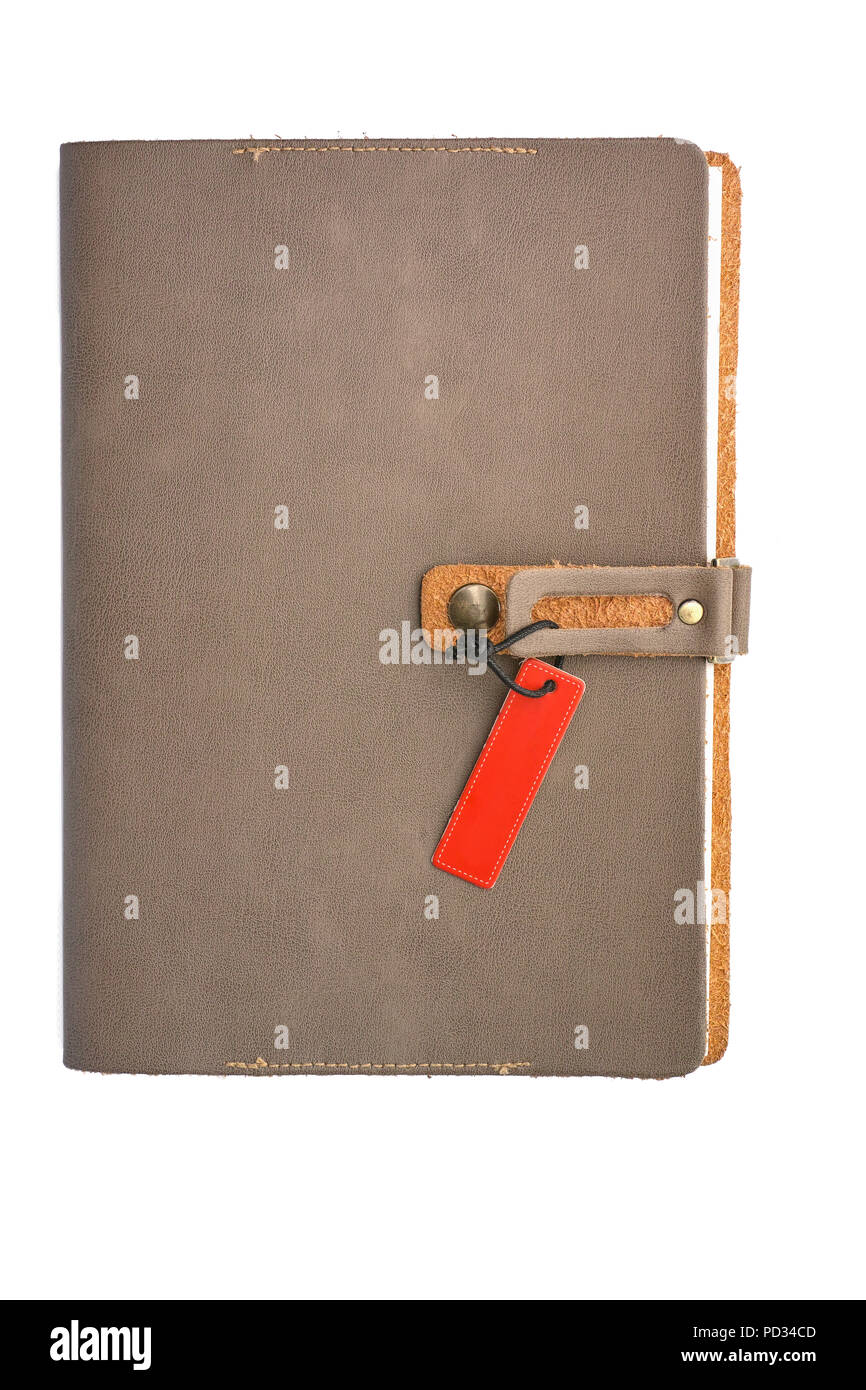 75f82fd3933 Leer leder Notebook Cover mit Tag auf weißem Hintergrund Stockfoto ...