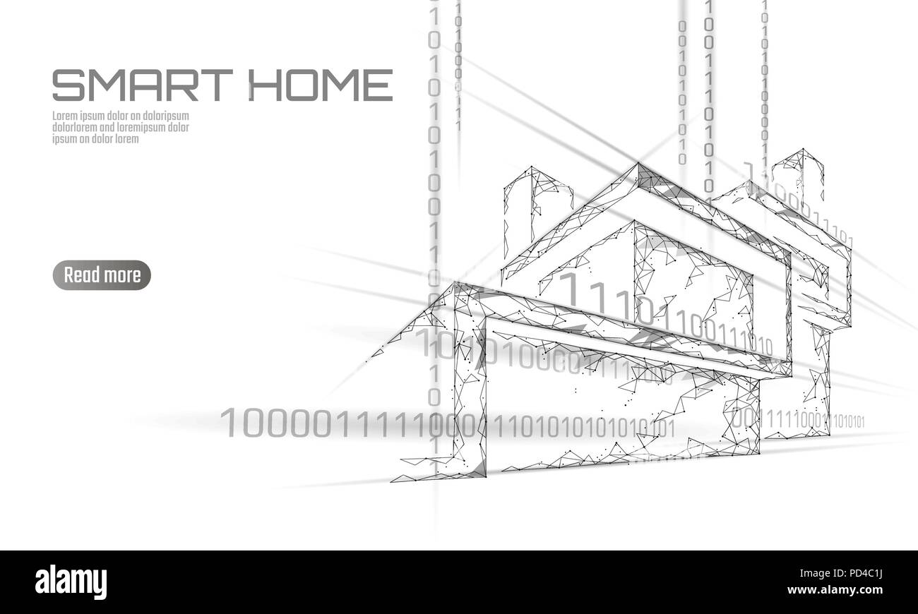 Smart House Binrcode Low Poly Konzept Online Control Information Electrical Wiring Diagrams For Homes Analyse Internet Der Dinge Technologie Home Automation System