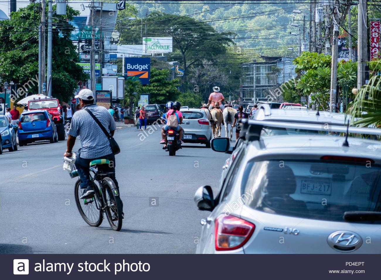 Pferde verlangsamen den Verkehr in JAco Costa Rica an einem typischen Sommertag Stockbild