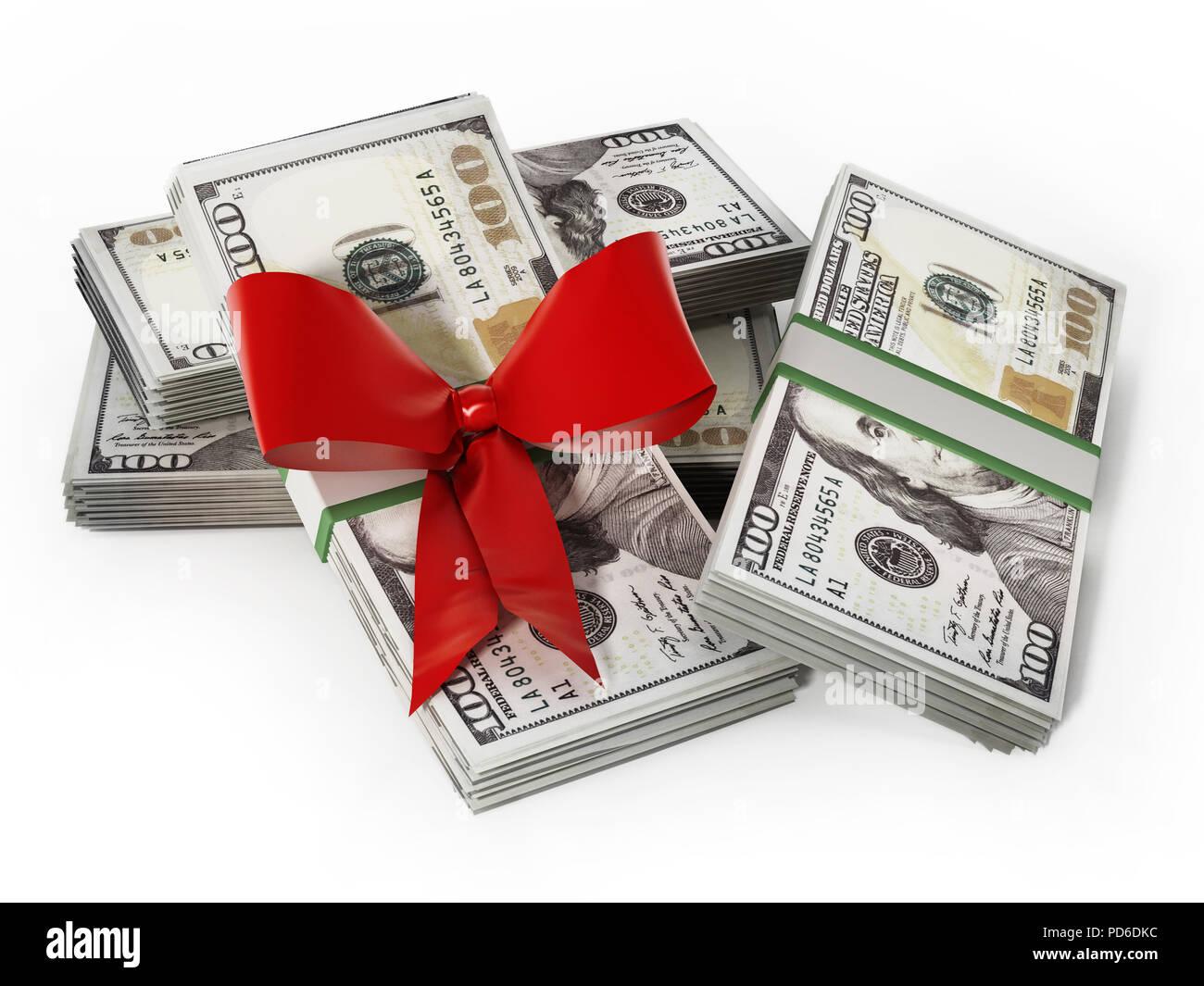 100 dollar Geldscheine mit roter Schleife. Business und Erfolg Konzept. 3D-Darstellung. Stockbild