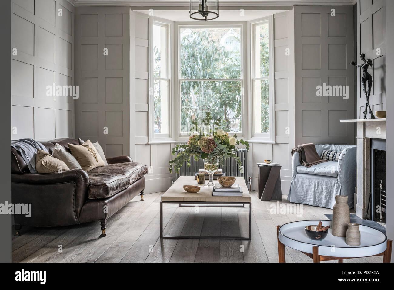 große vintage george smith leder sofa im wohnzimmer mit
