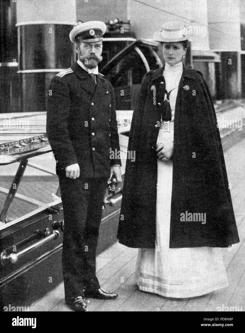 Zar Nikolaus II. von Russland. 1868-1918. Der letzte Kaiser von Russland. Hier im Bild mit seiner Frau Kaiserin Alexandra, 1872-1918. Stockbild