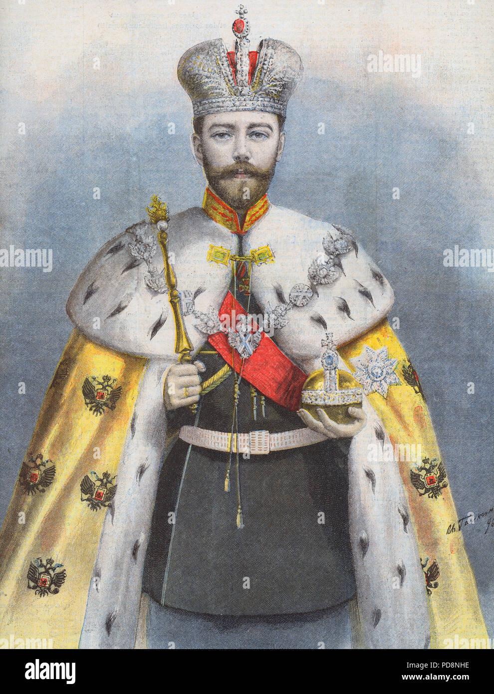 Zar Nikolaus II. von Russland. 1868-1918. Der letzte Kaiser von Russland. Abbildung von Le Petit Journal, 24. Mai 1896 im Zusammenhang mit seiner Krönung in Moskau. Stockbild