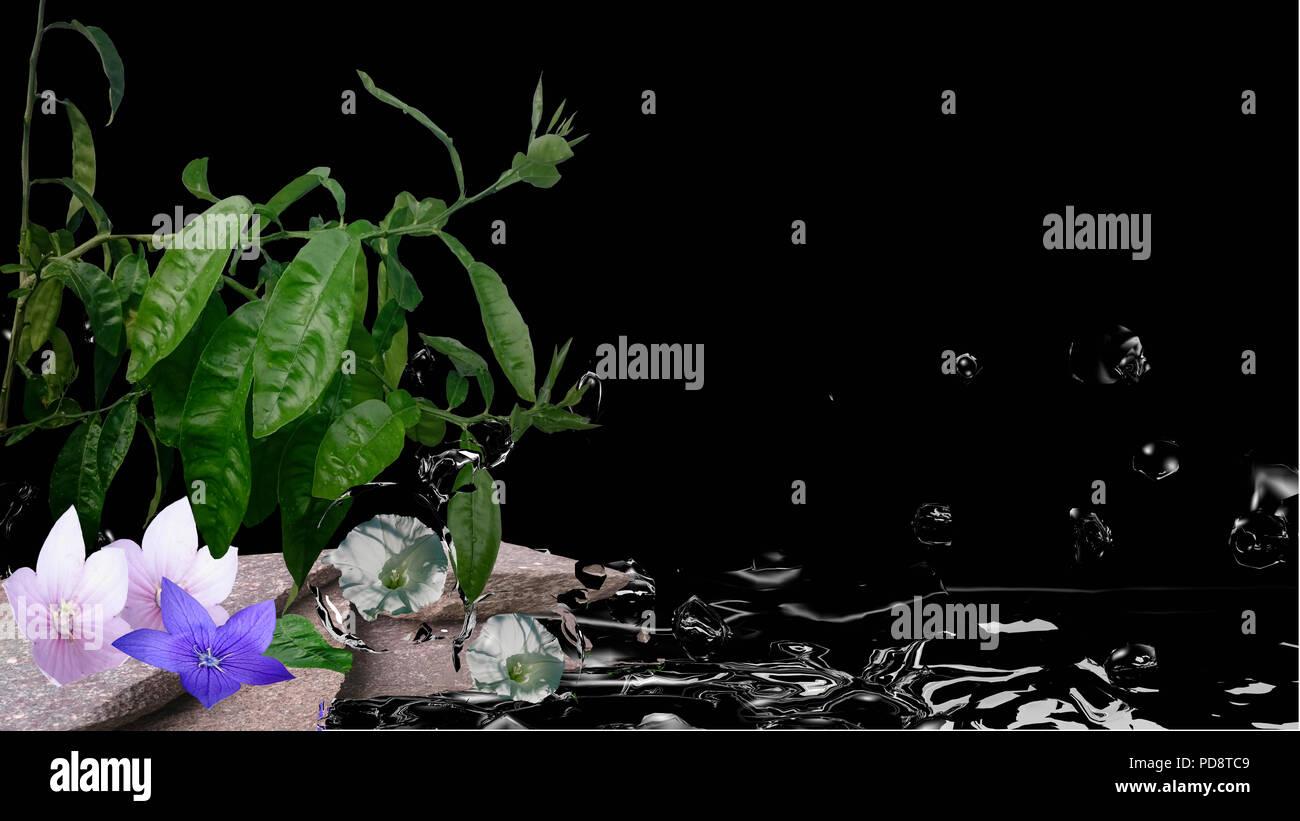 Feng Shui Bild Mit Orange Baum Blumen Steine Und Wasser