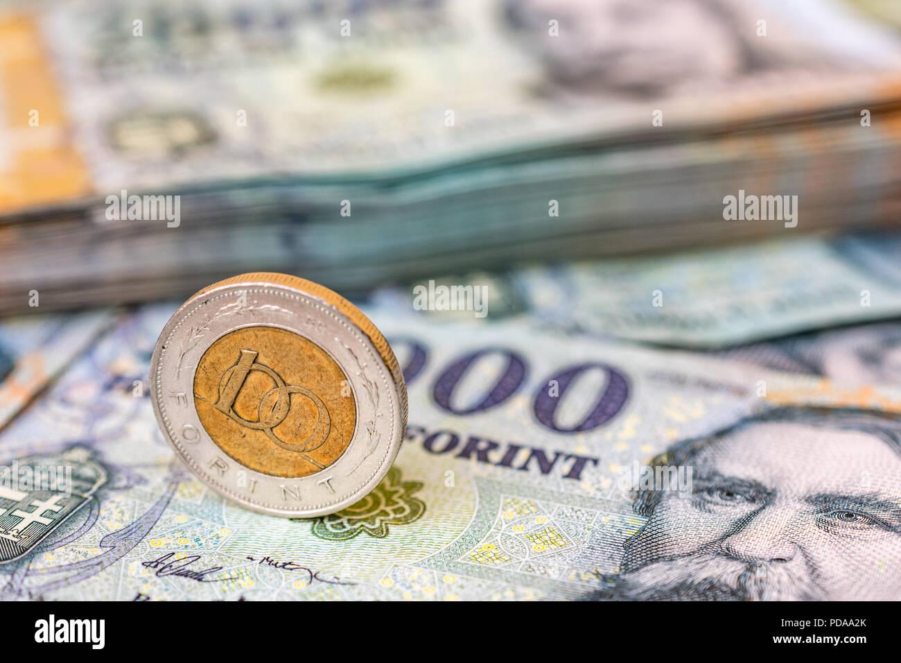 Ungarn 100 Forint Münze Hochkant Auf 20000 Forint Banknoten Mit