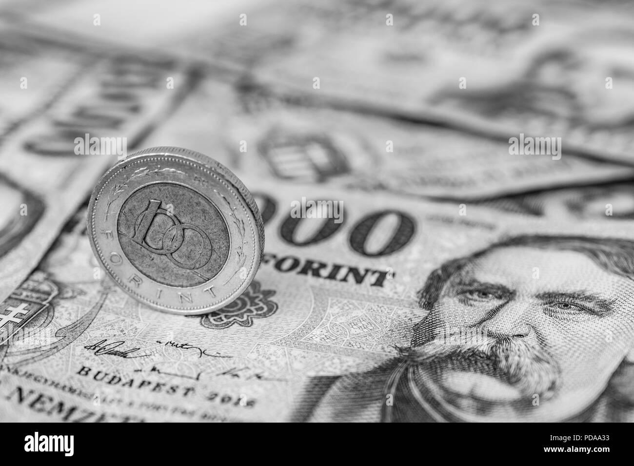 Ungarn 100 Forint Münze Hochkant Auf 20000 Forint Banknoten In