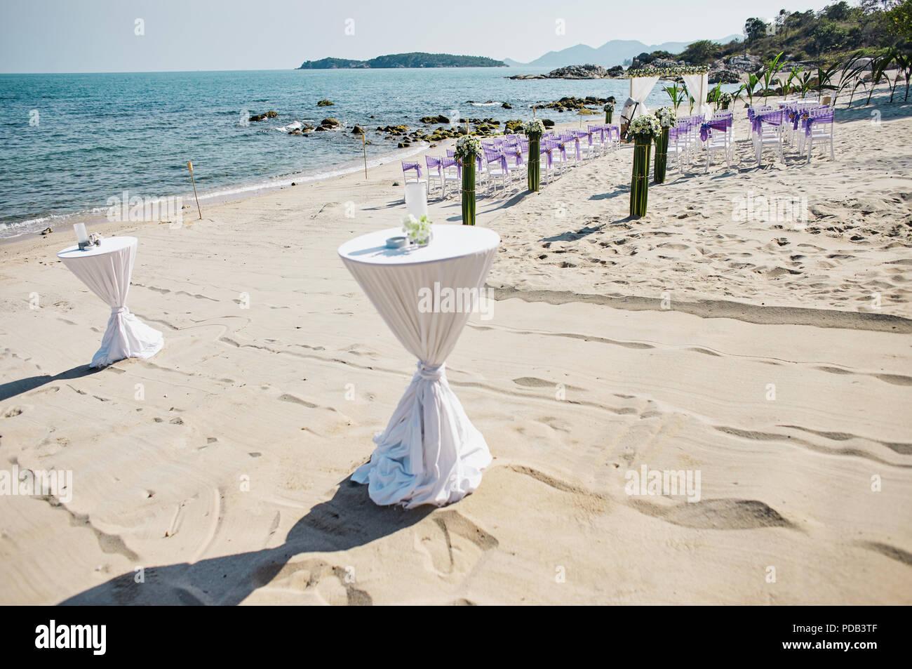 Weisses Tuch Dekorieren Snack Glaser Tabelle Strand Hochzeit Am