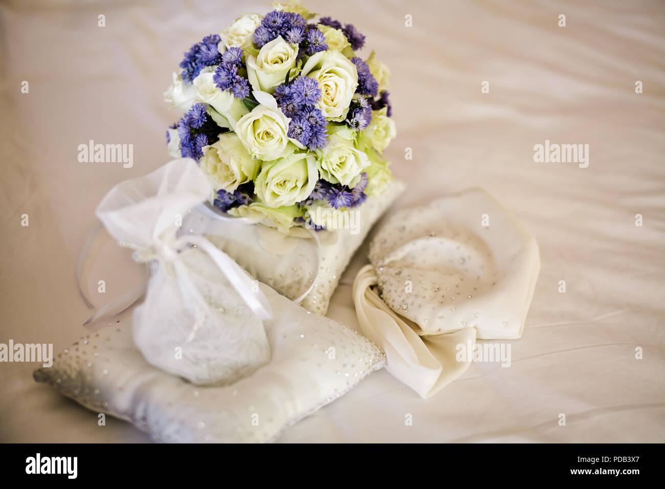 Selektiver Fokus Auf Schone Hochzeit Pastell Blumenstrauss Fur Die
