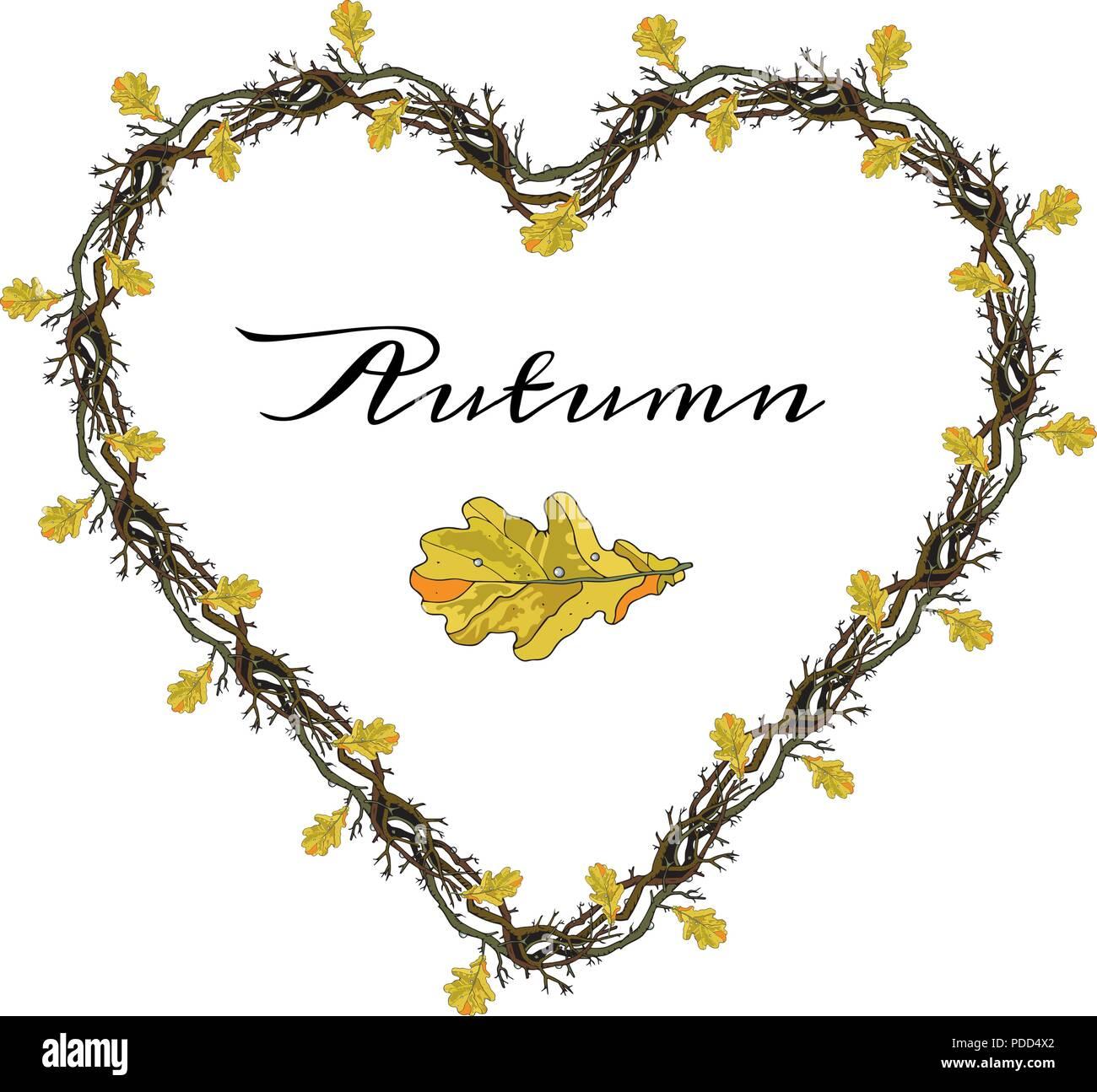 Herbst liebe Zweige Rahmen in einer Form des Herzens. Eichenlaub ...