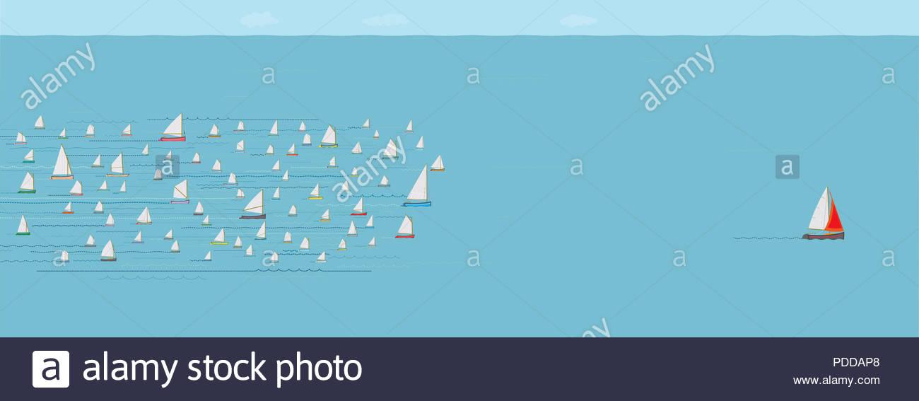Segelboot vor der Konkurrenz, gewinnend, verlassen die Volksmenge, Fortschritt, Erfolg, die Beste, Wide Format, Meer, Business Strategie Konzept Stockbild