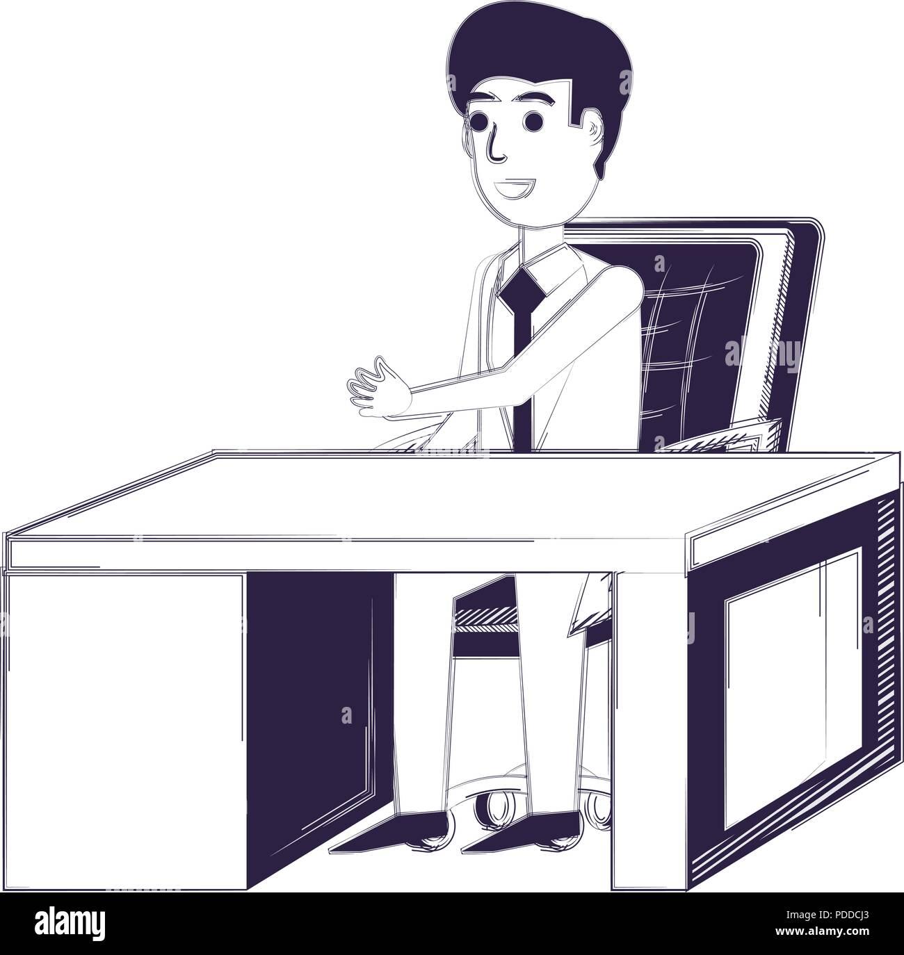 Cartoon Geschaftsmann Im Buro Mit Schreibtisch Und Stuhl Mit Weissem Hintergrund Vector Illustration Stock Vektorgrafik Alamy