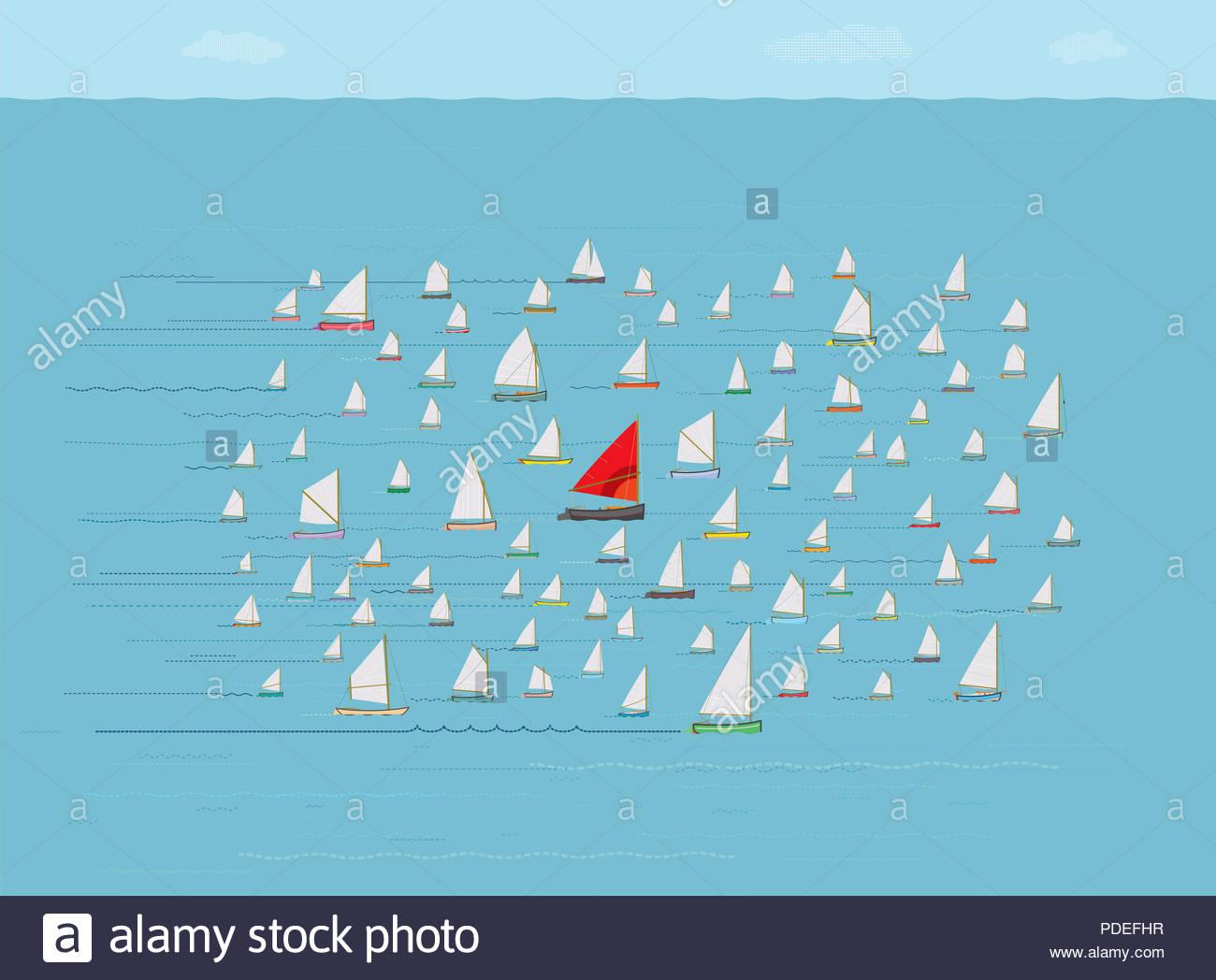 Gehen Sie mit dem Fluß Segelboot, das zusammen mit der Masse, Sicherheit in den Zahlen, Nautik, Konzepte und Ideen, gleiche Richtung, Laufen mit dem Pack Stockbild