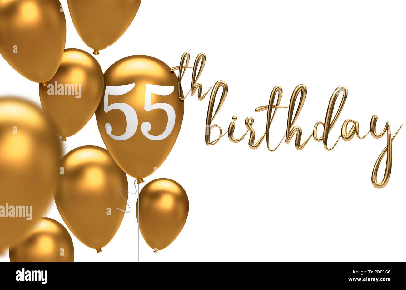 Gold Happy 55th Birthday Ballon Gruss Hintergrund 3D Rendering