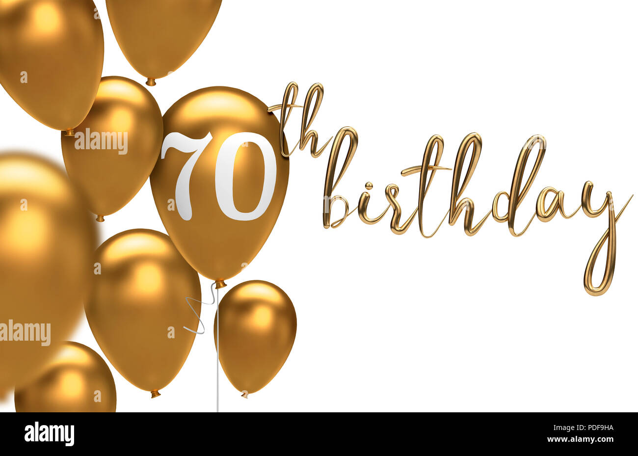 Gold Happy 70th Birthday Ballon Gruss Hintergrund 3D Rendering