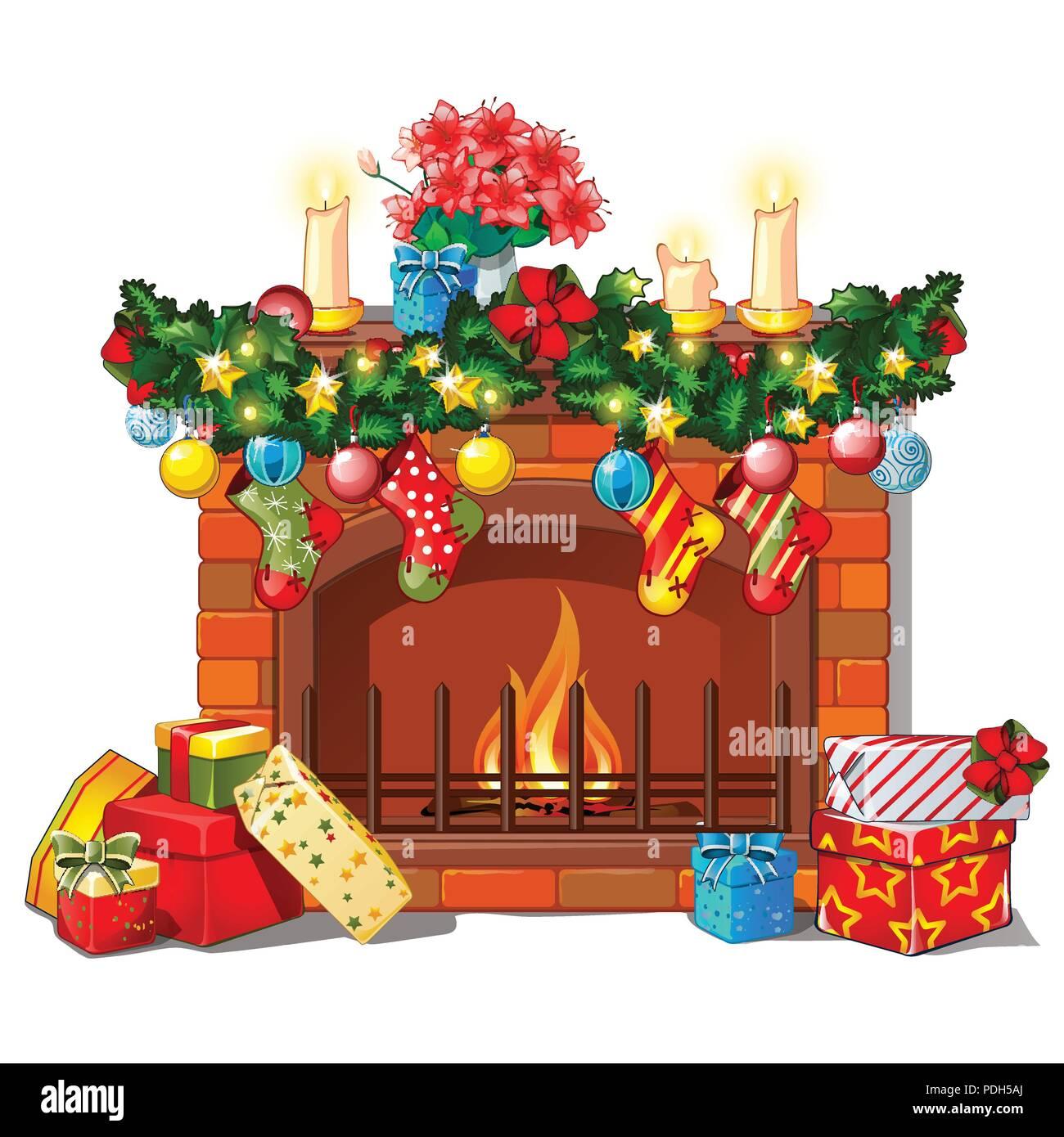 Weihnachten Skizze mit dem Kamin und Dekorationen, Glaskugeln und ...