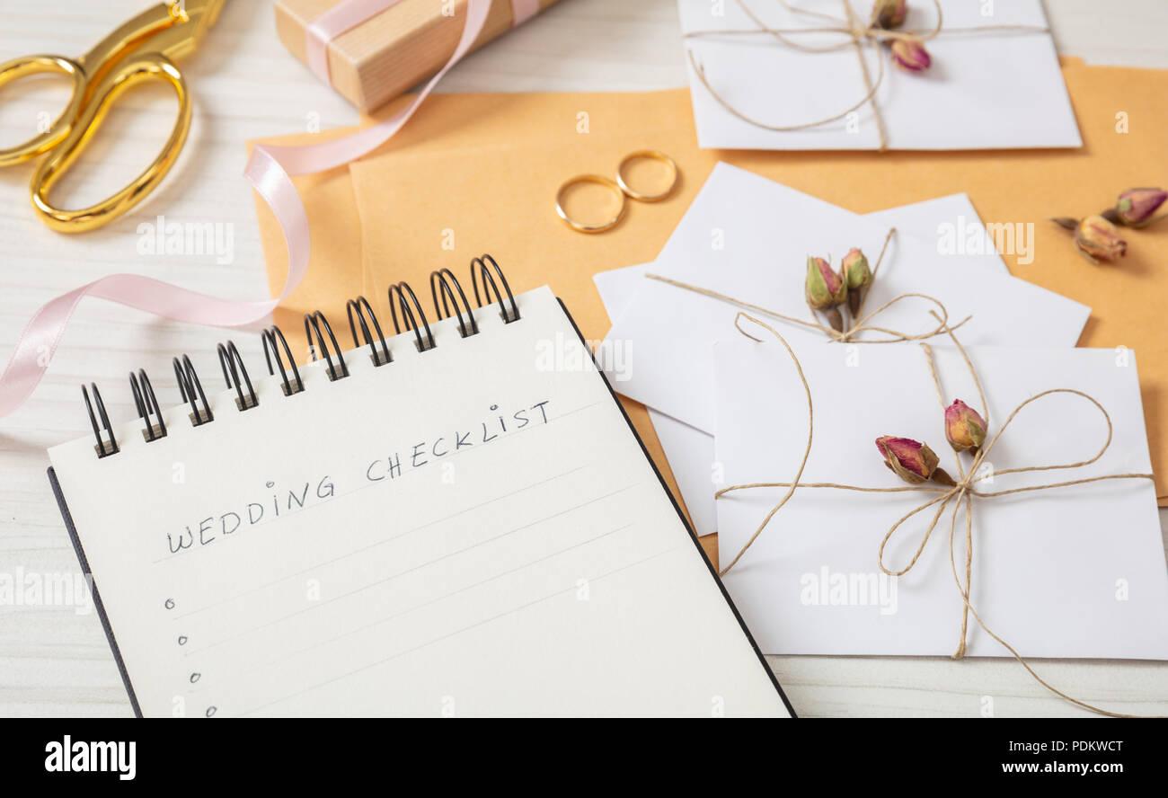 Hochzeit Vorbereitung Flach Und Aus Der Nahe Von Checkliste Und