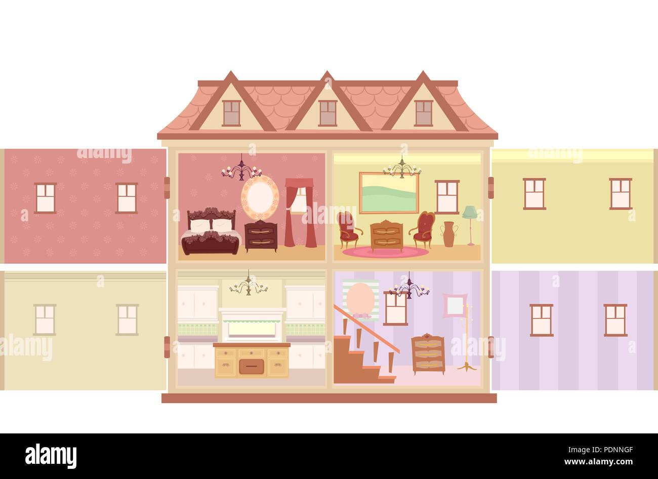 Abbildung: ein großes offenes Puppenhaus mit verschiedenen Räume im ...