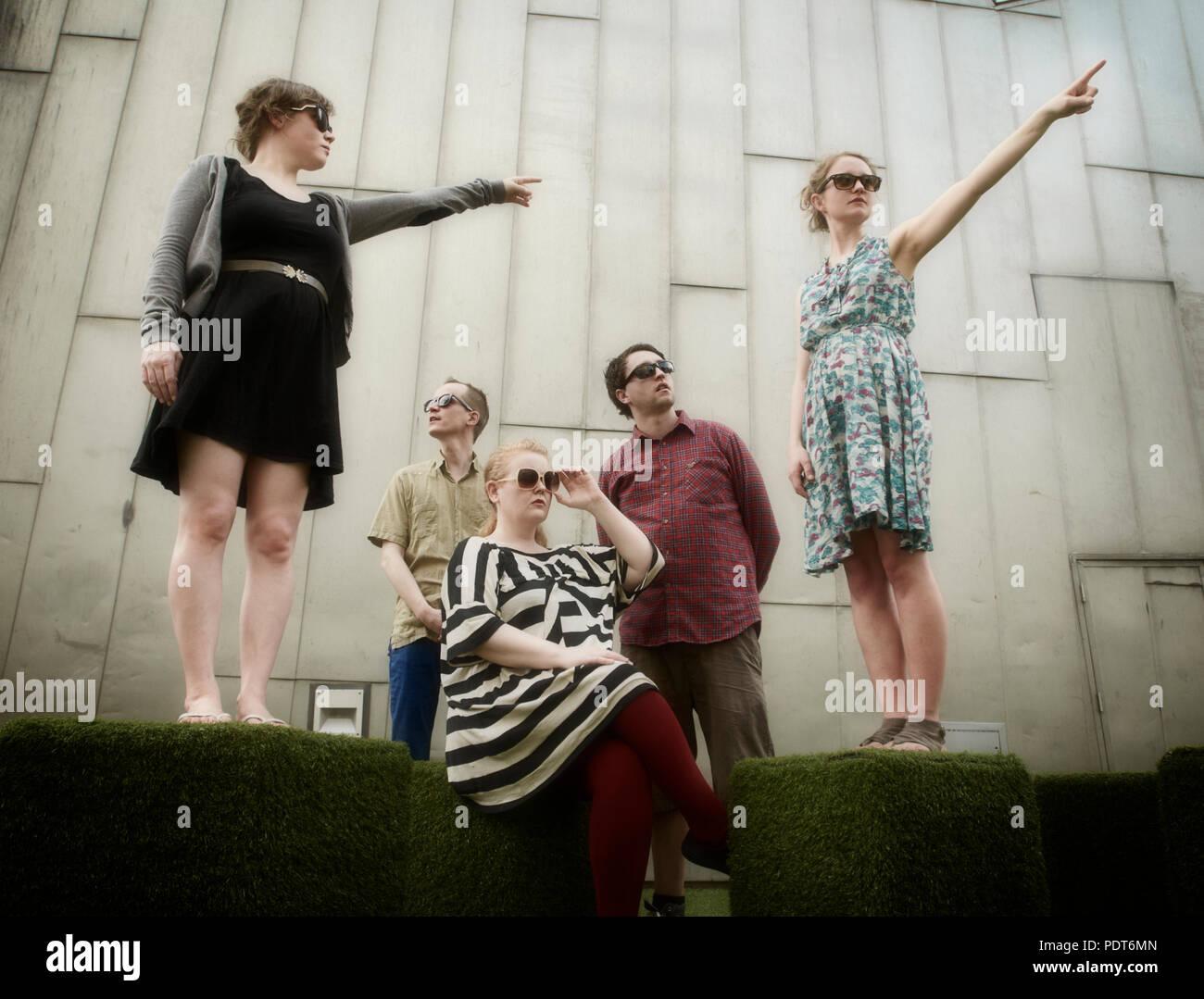 Die isländische Band Amiina Federation Square während der Tour in Melbourne, Australien Stockfoto