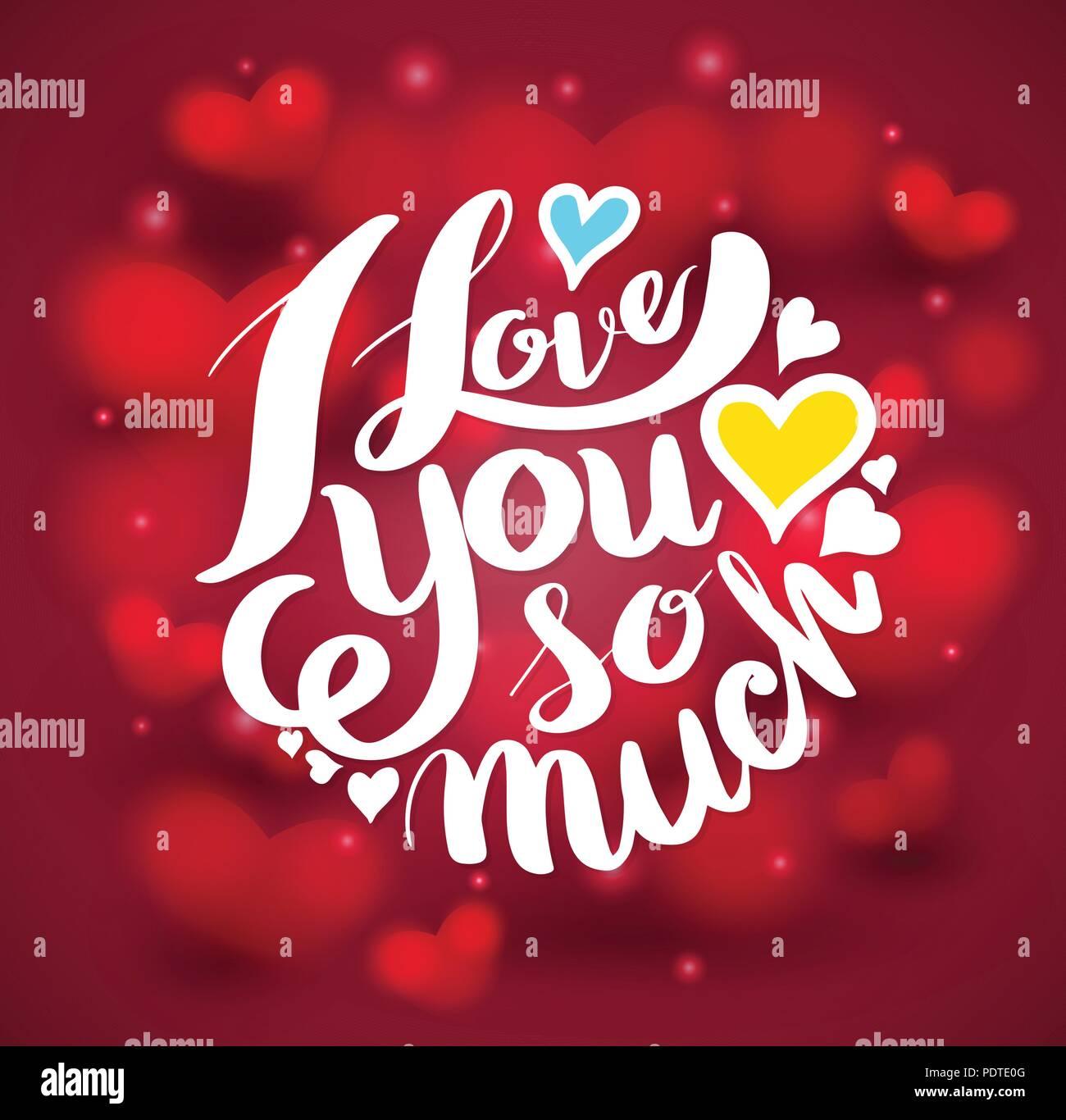 Ich Liebe Dich So Sehr Schrift Auf Roten Herzen Hintergrund