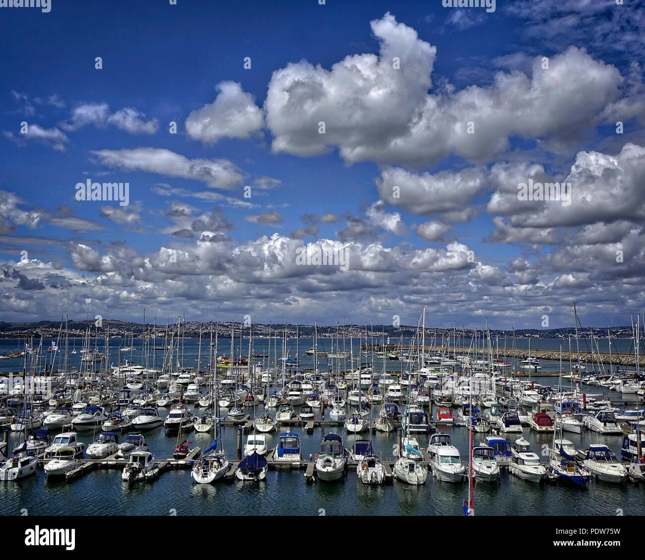De - Devon: Brixham Marina mit Torbay im Hintergrund Stockbild