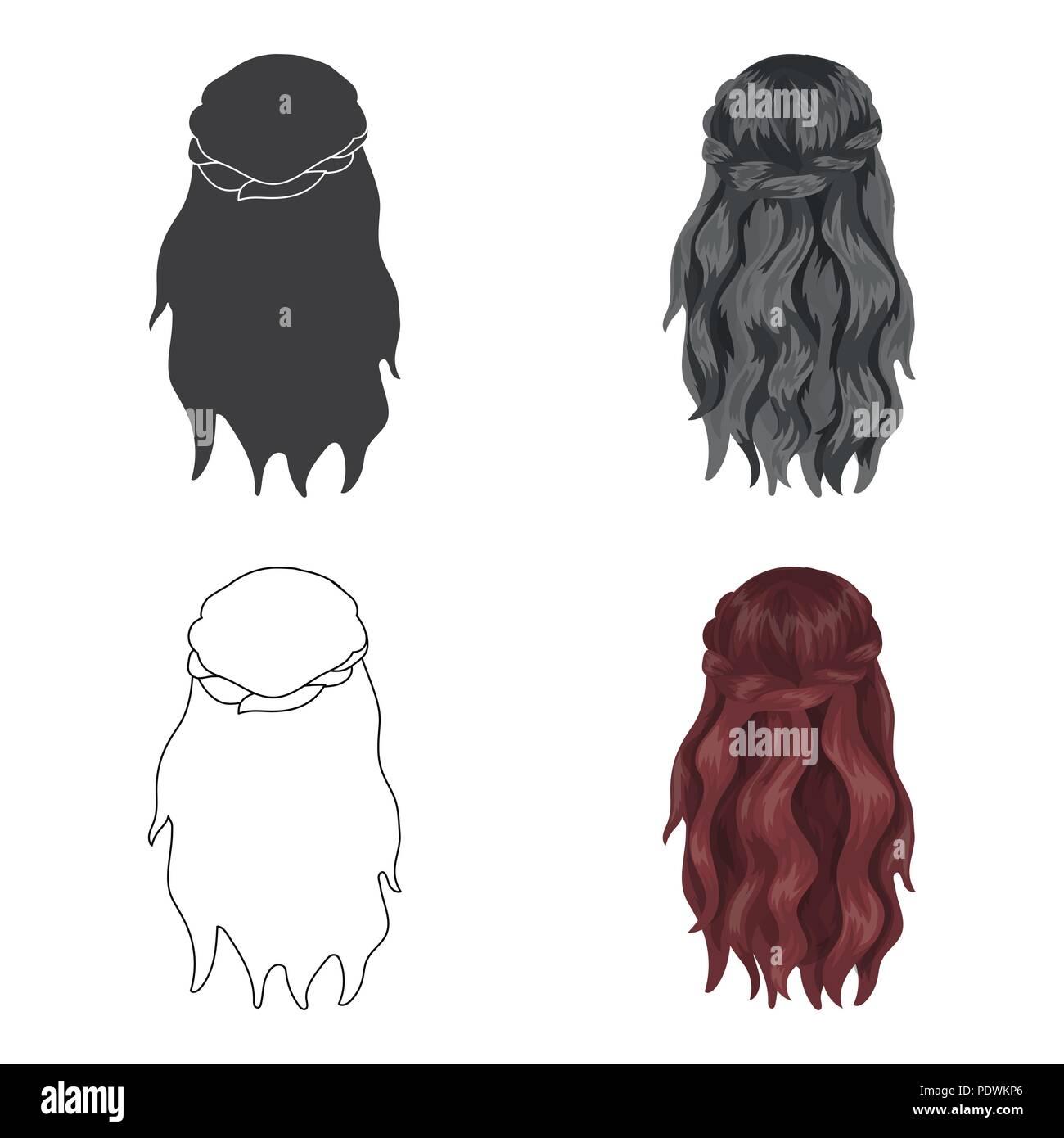 Dunkle Lose Haare Hinter Zuruck Frisur Einzelnen Symbol Im Comic