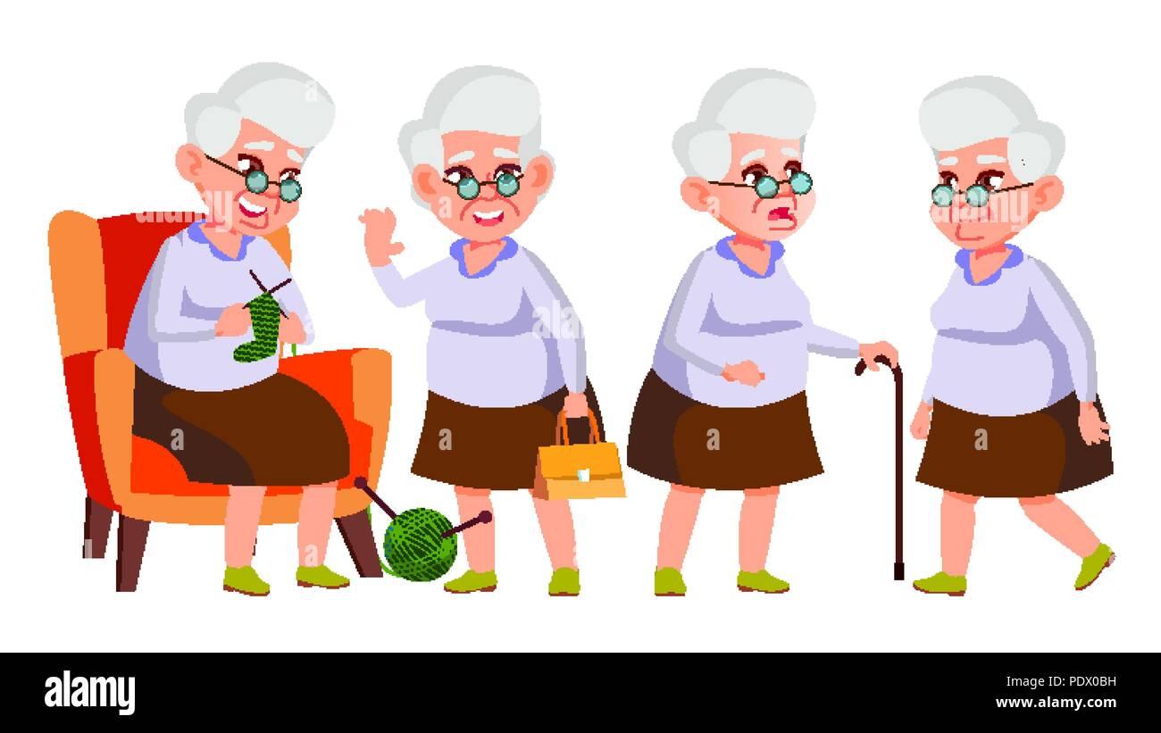 Alte Frau Stellt Ein Vektor Altere Menschen Altere Person Im