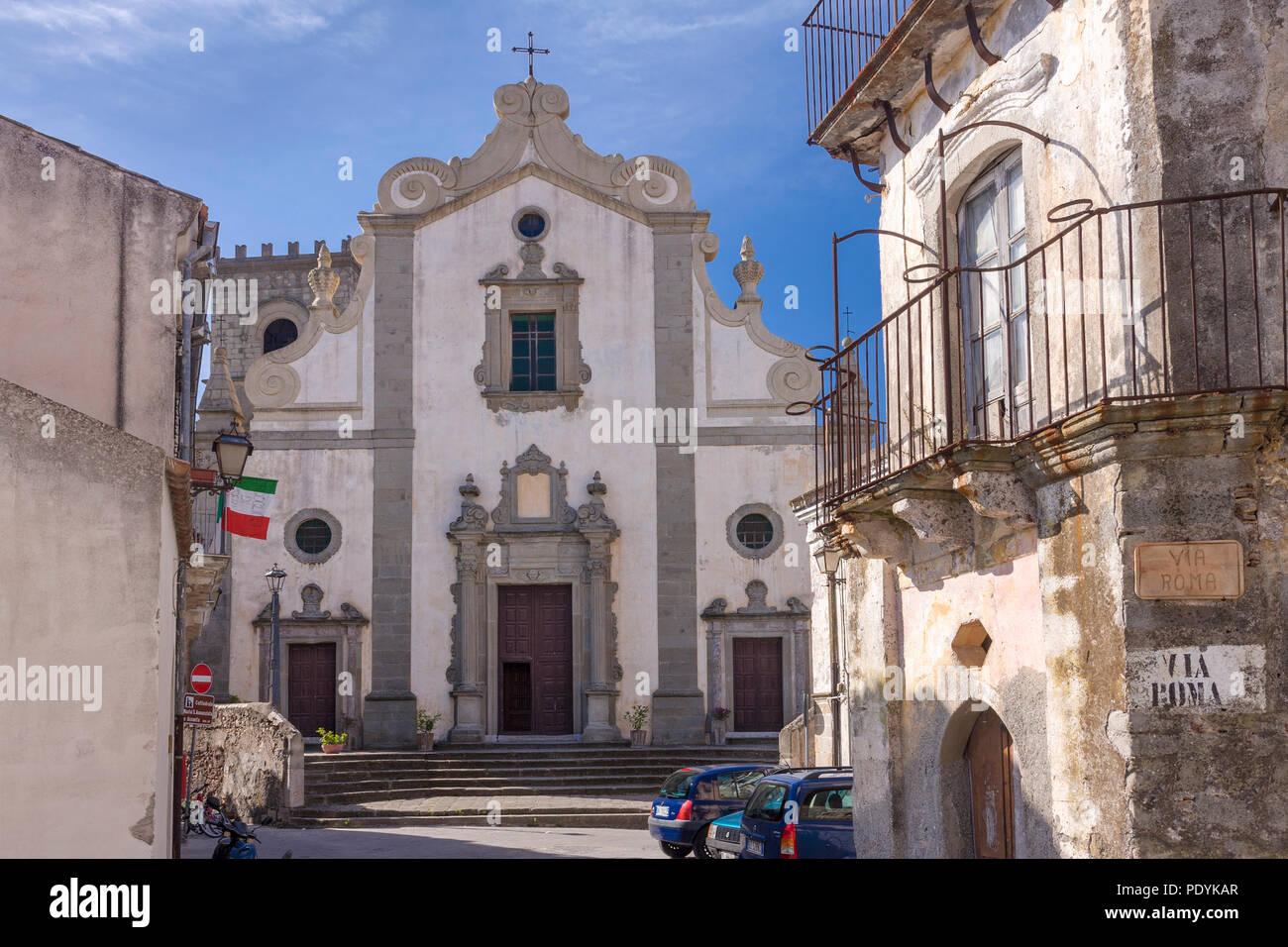 "Madre di Forza D'Agro-Mutter Kirche in Forza D'Agro, bekannt gemacht in der ""Pate""-Filme, Forza D'Agro, Messina, Sizilien, Italien Stockbild"