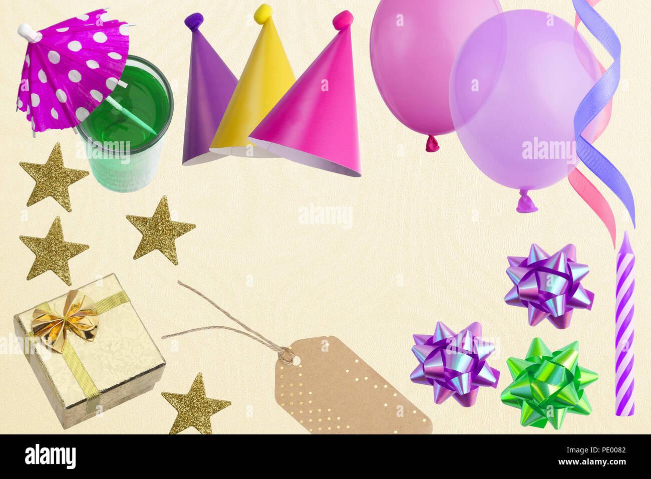 Urlaub Rahmen Oder Hintergrund Mit Bunten Ballons Geschenk Flach