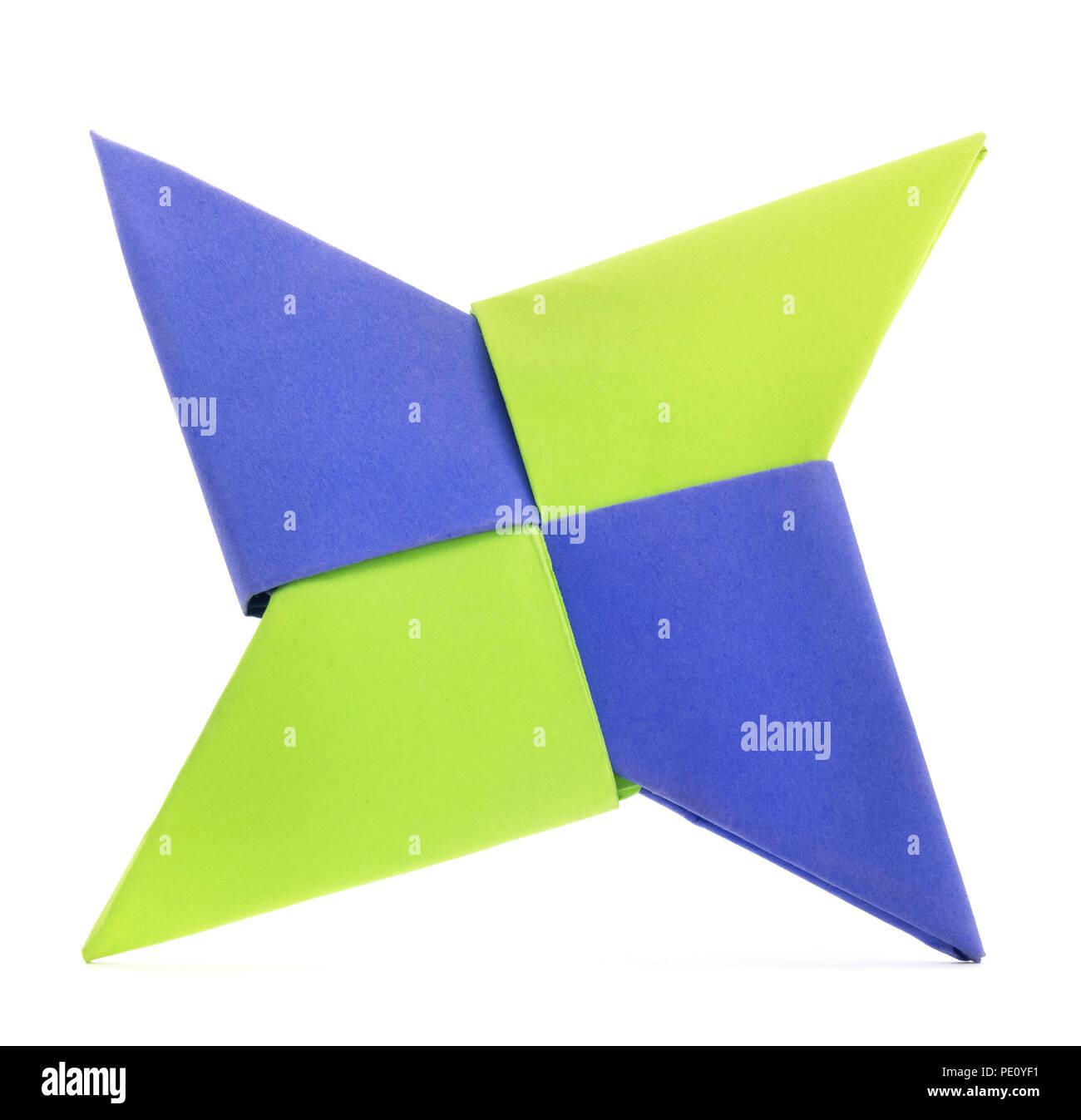 Isolierte origami Papier Stern falten. Origami Stern Papier Falten auf einem weißen Hintergrund. Stockbild