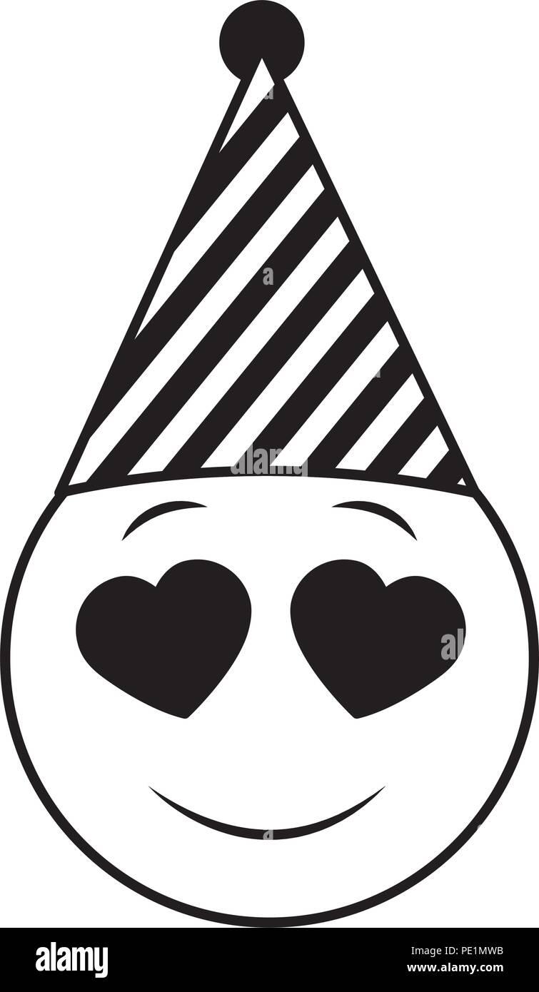 Geburtstag Happy Face Emoji Party Hut Schwarz Und Weiss Vektor